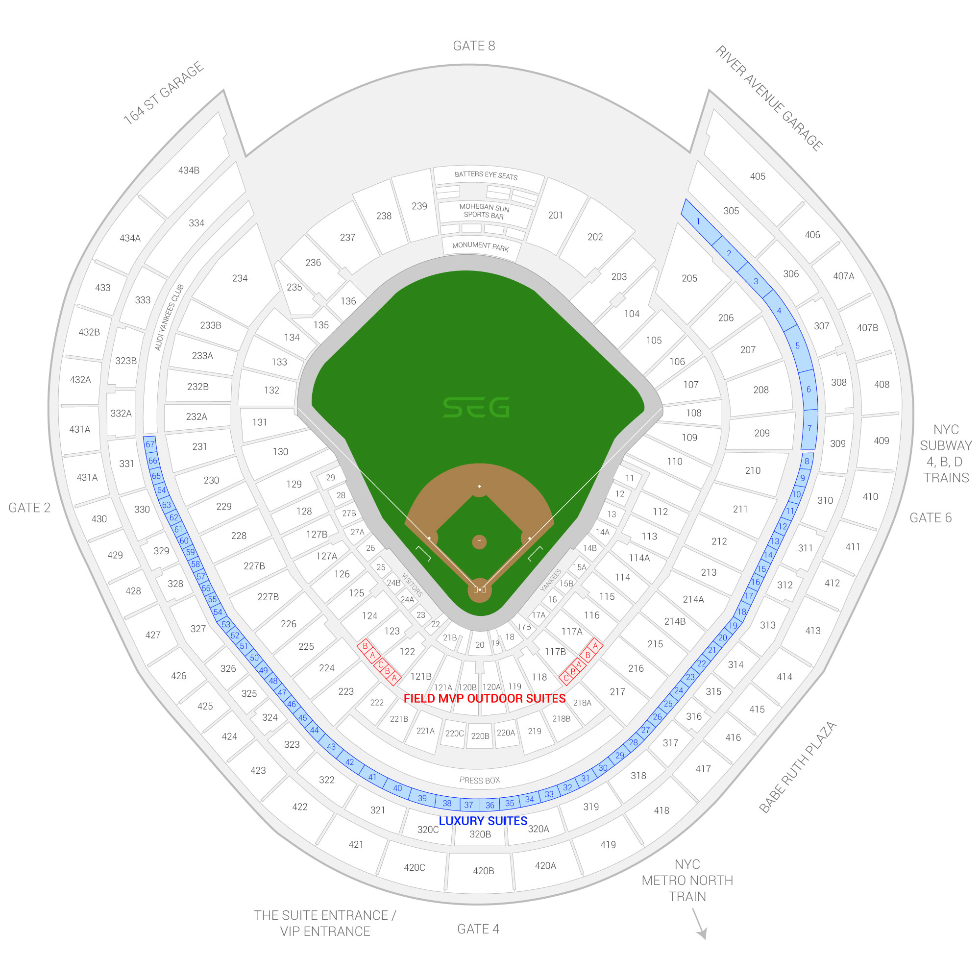 Yankee Stadium New York Yankees Suite Map And Seating Chart