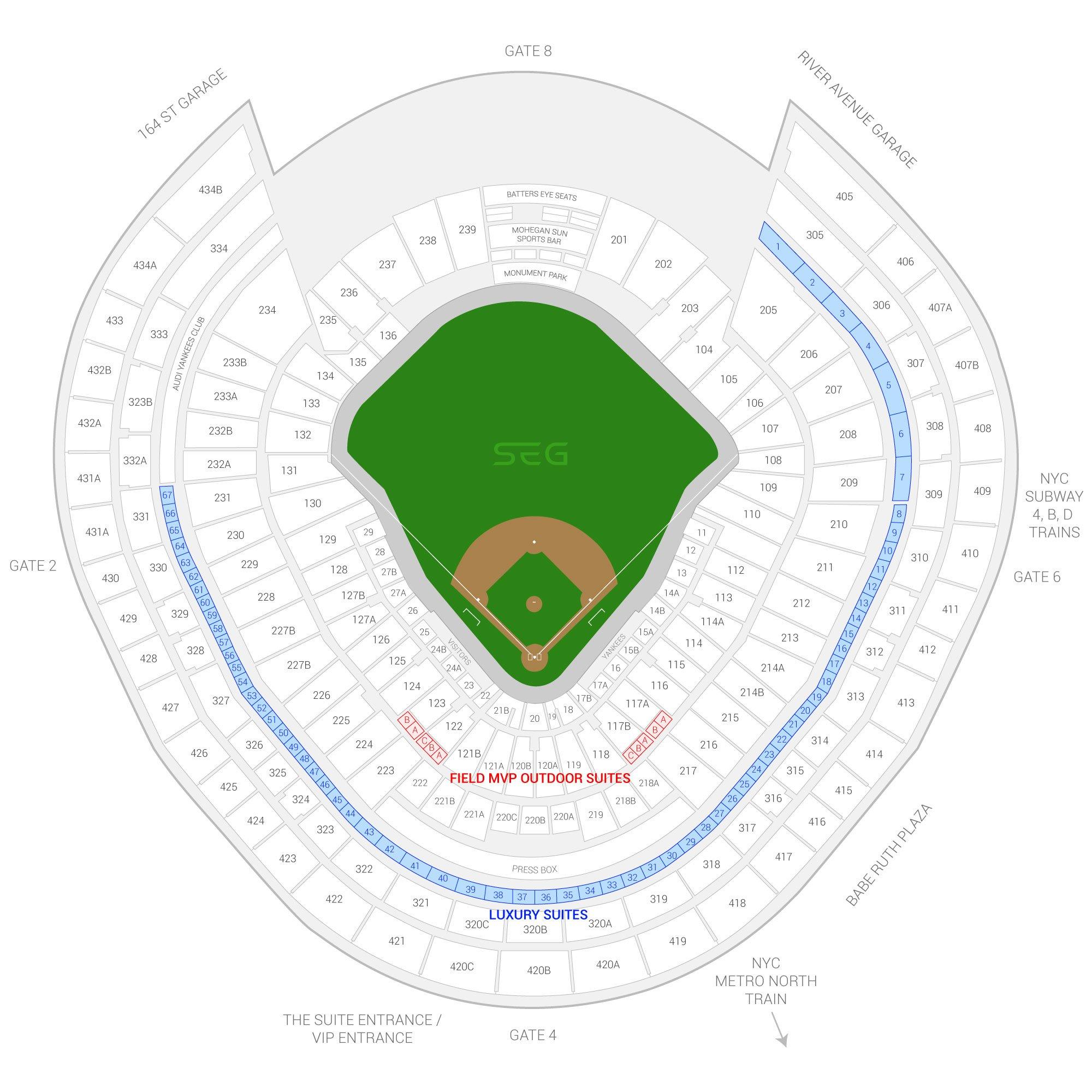 Yankee Stadium / New York Yankees Suite Map and Seating Chart