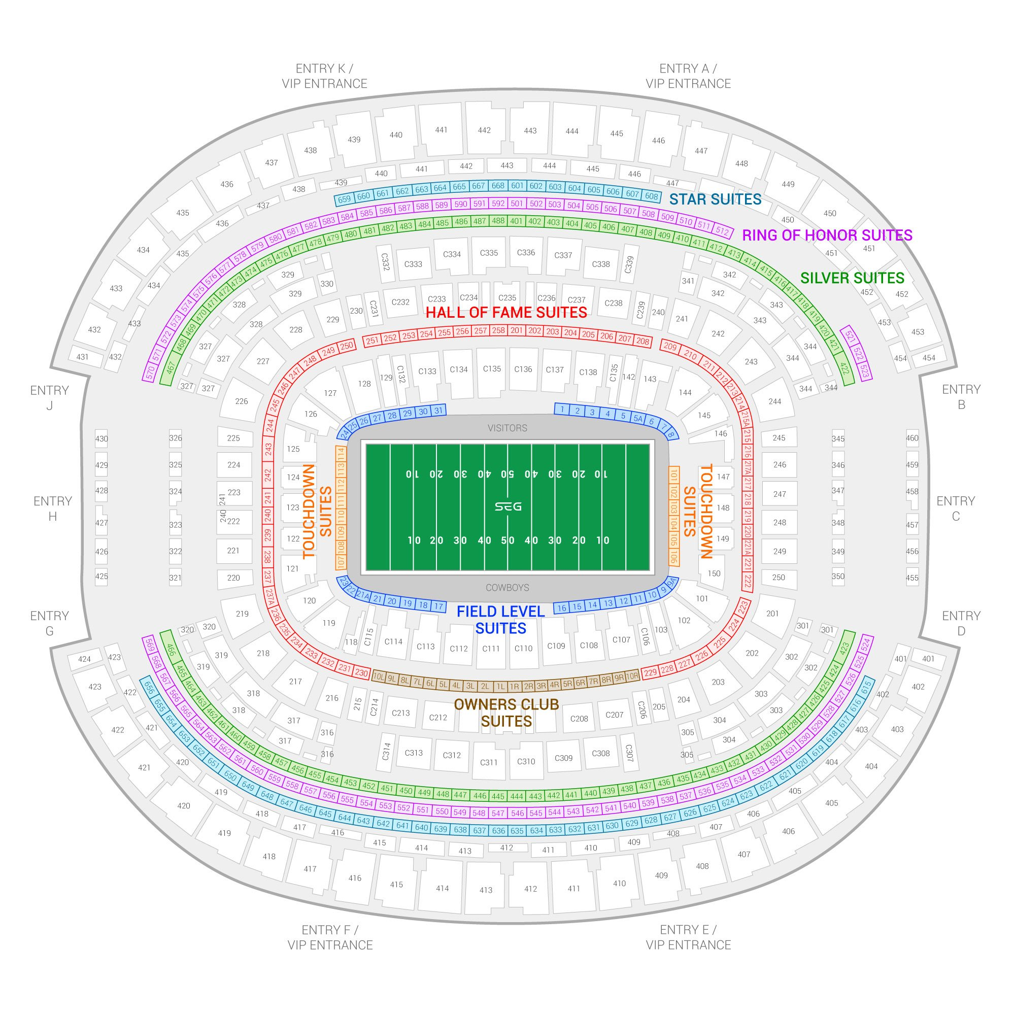 AT&T Stadium / Dallas Cowboys Suite Map and Seating Chart