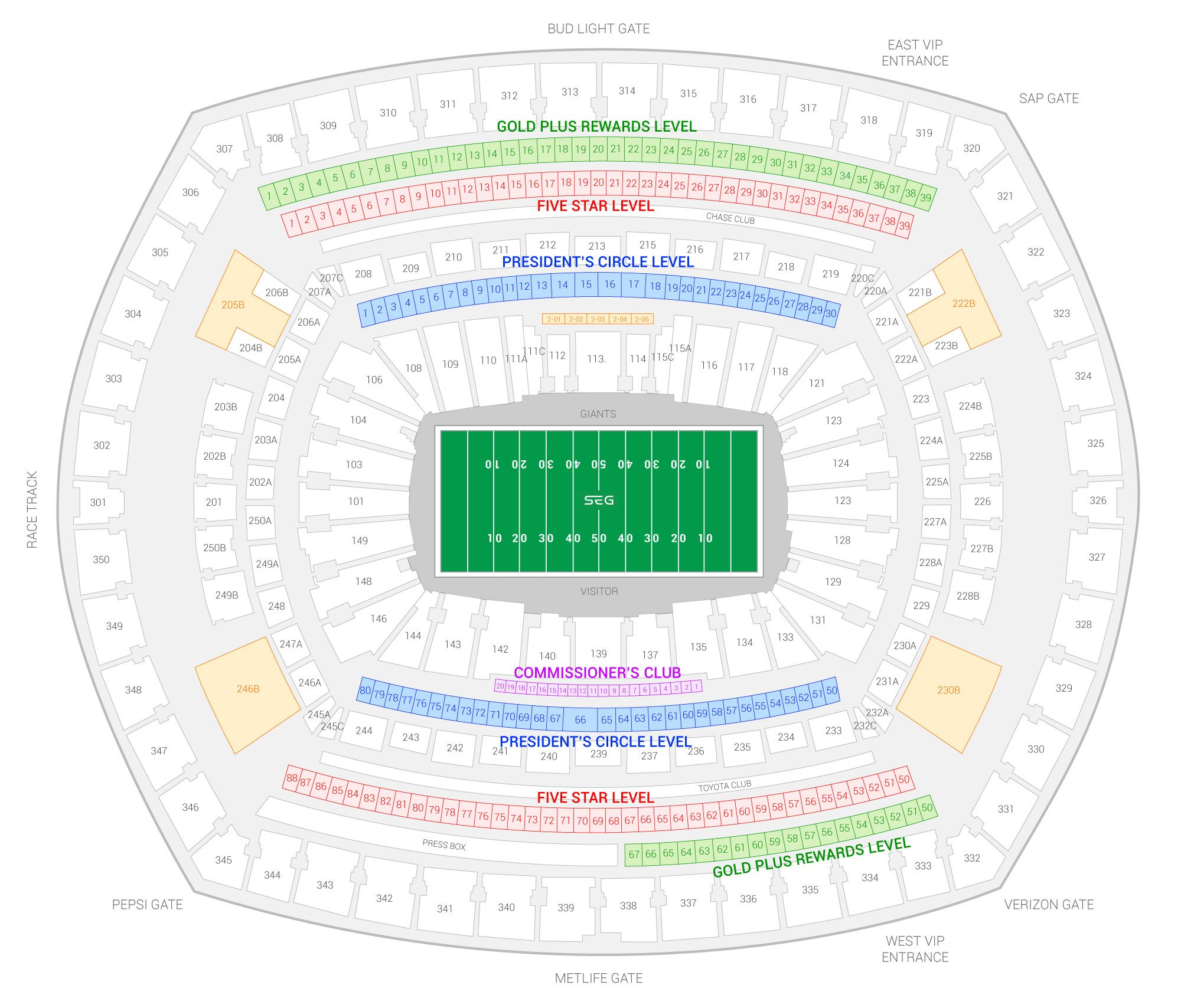 MetLife Stadium / New York Giants Suite Map and Seating Chart