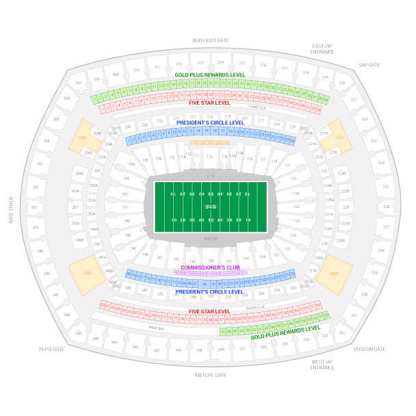 MetLife Stadium / New York Jets Suite Map and Seating Chart