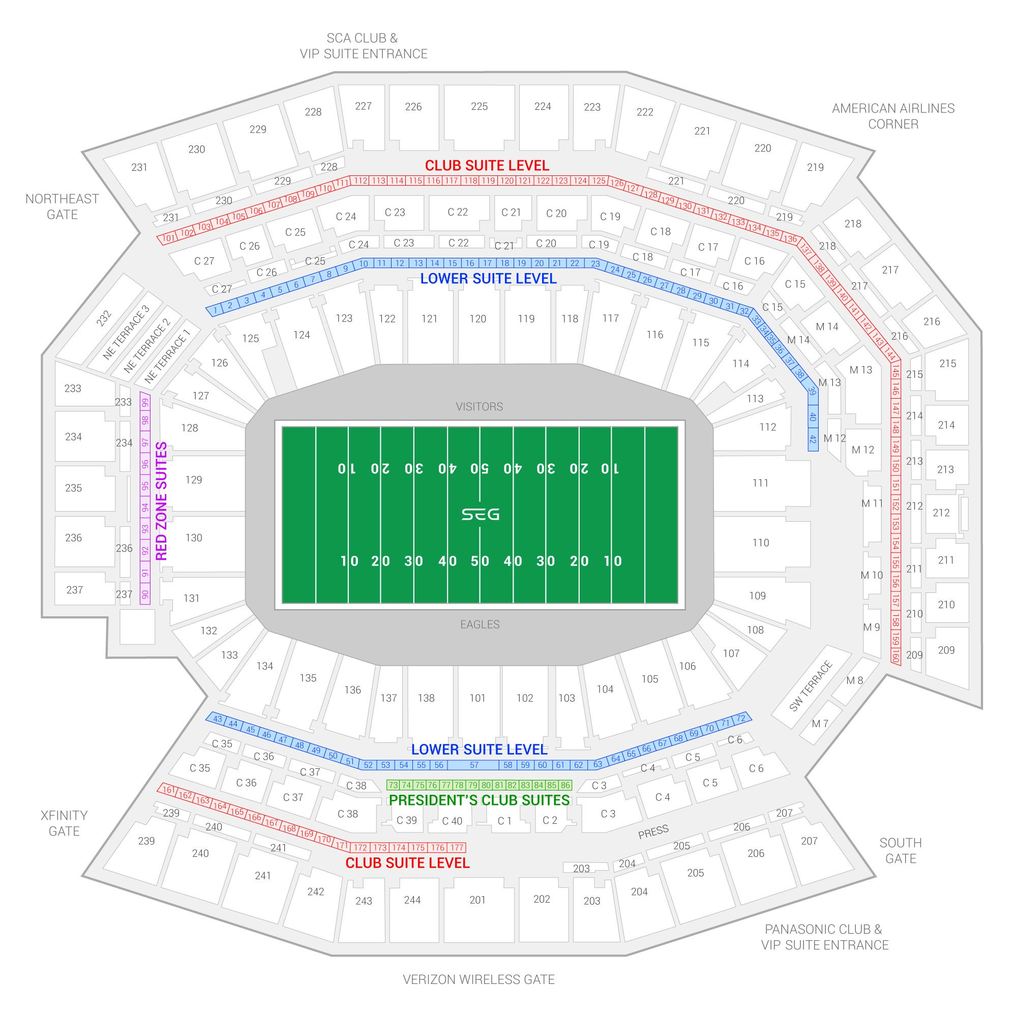 Lincoln Financial Field / Philadelphia Eagles Suite Map and Seating Chart