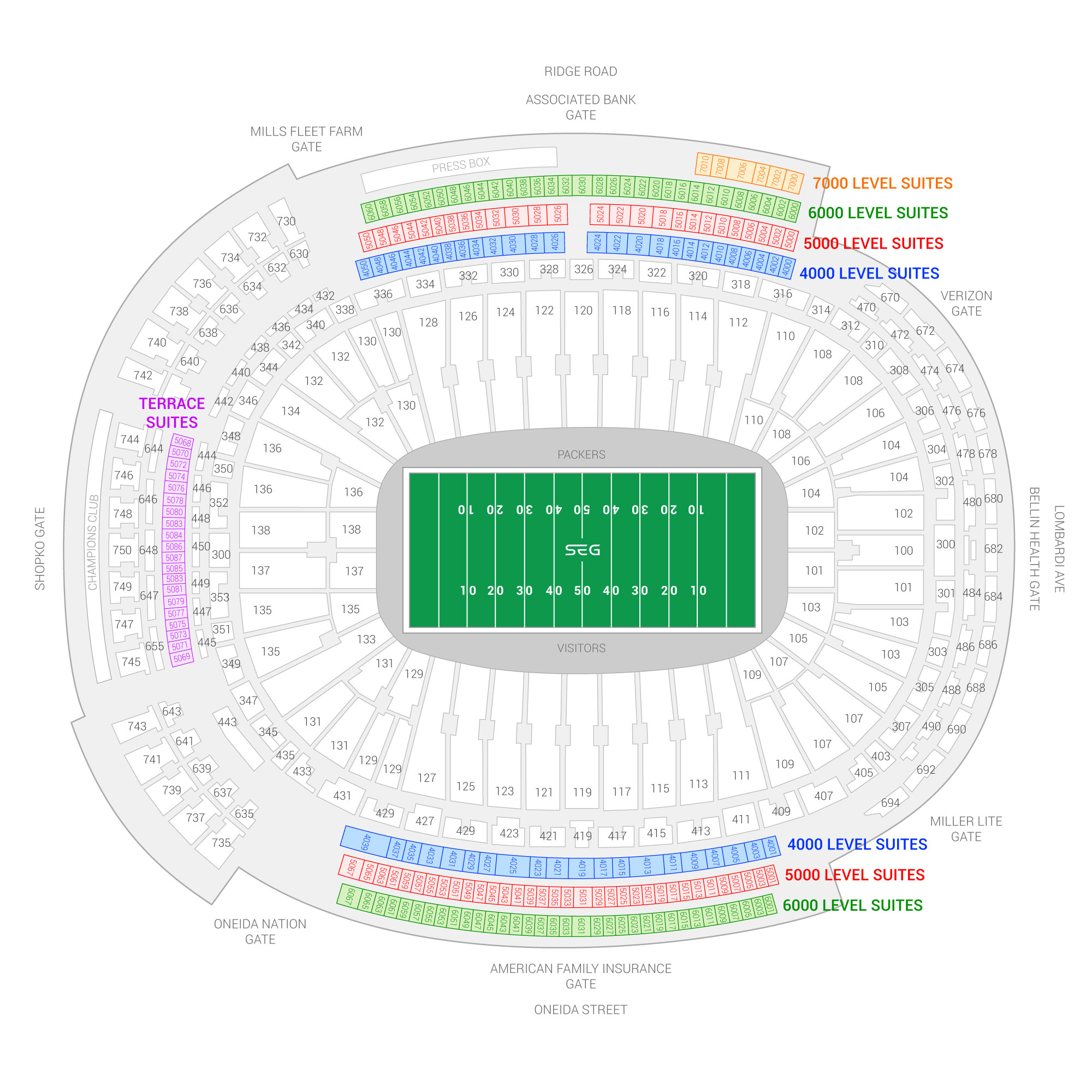 Lambeau Field / Green Bay Packers Suite Map and Seating Chart