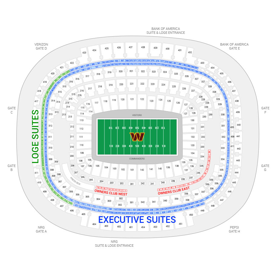 FedEx Field / Washington Redskins Suite Map and Seating Chart