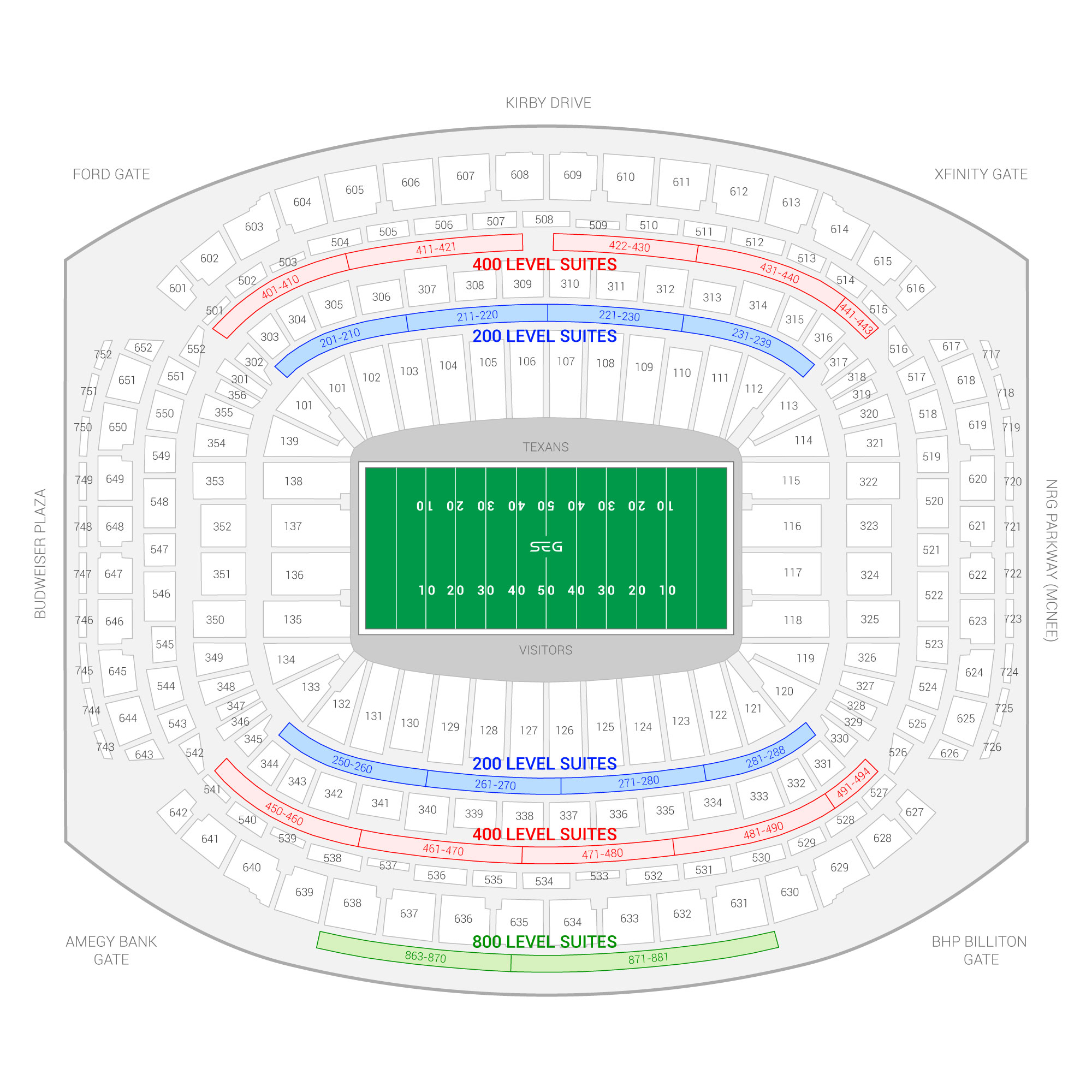 NRG Stadium /  Suite Map and Seating Chart