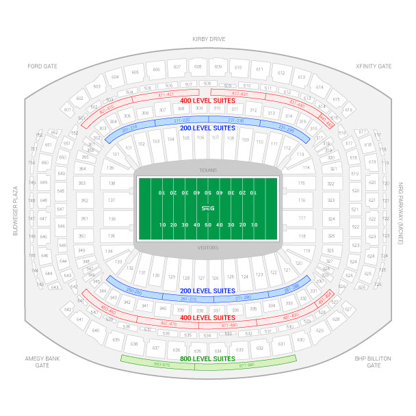 NRG Stadium / Houston Texans Suite Map and Seating Chart