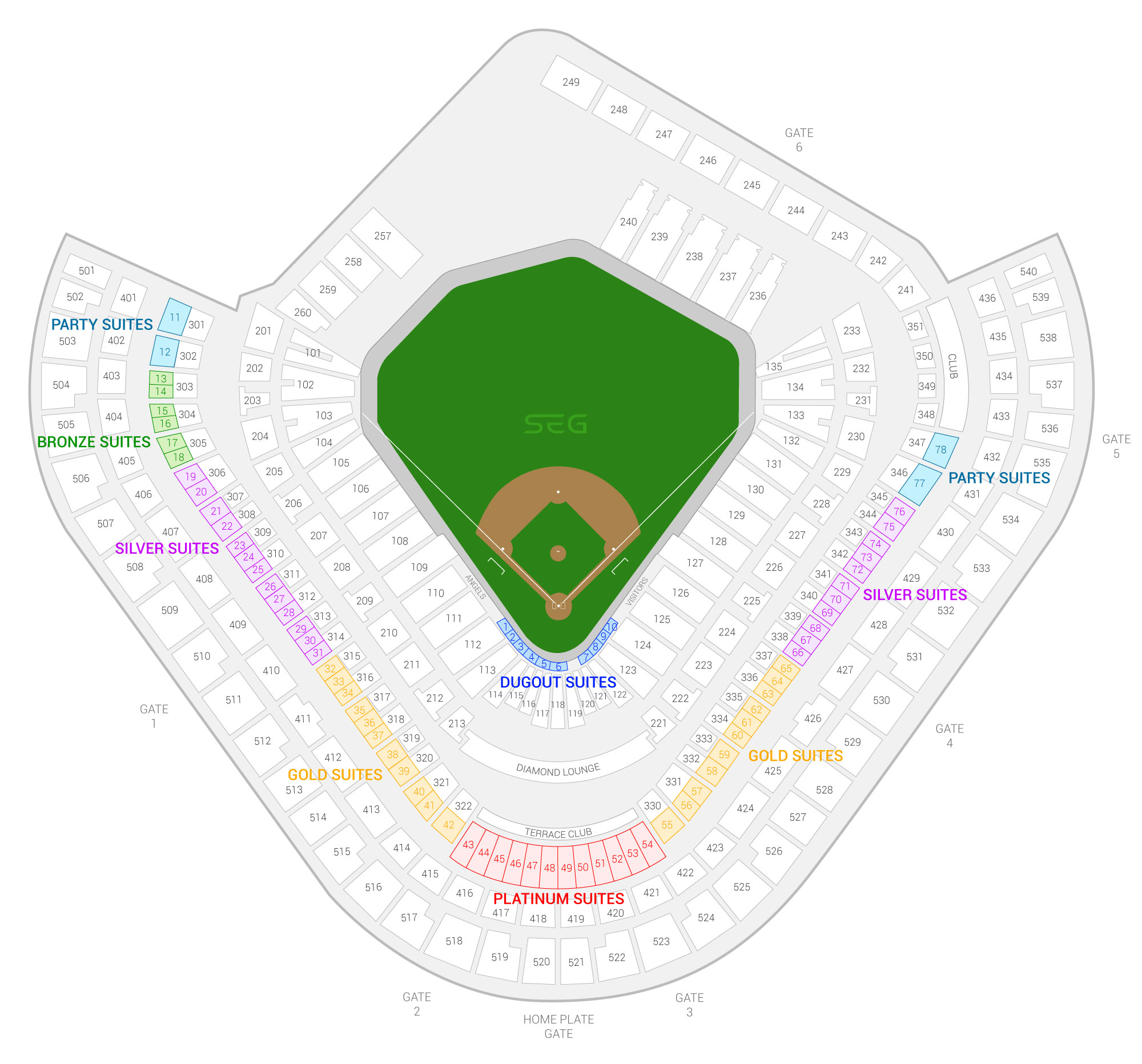 Angel Stadium of Anaheim / Los Angeles Angels Suite Map and Seating Chart