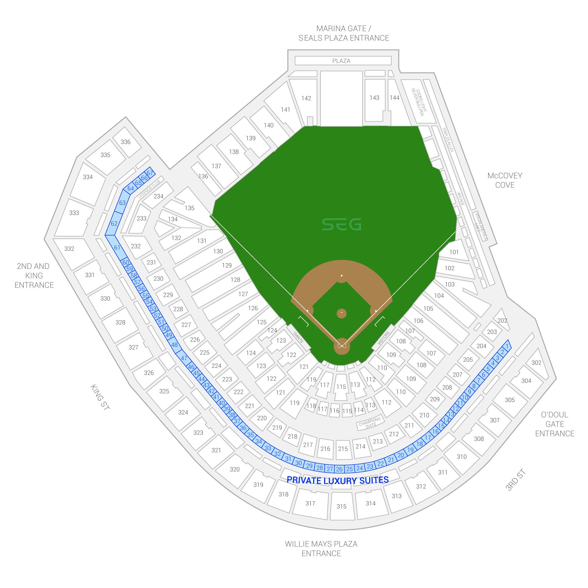 Oracle Park (Formerly AT&T Park) / San Francisco Giants Suite Map and Seating Chart