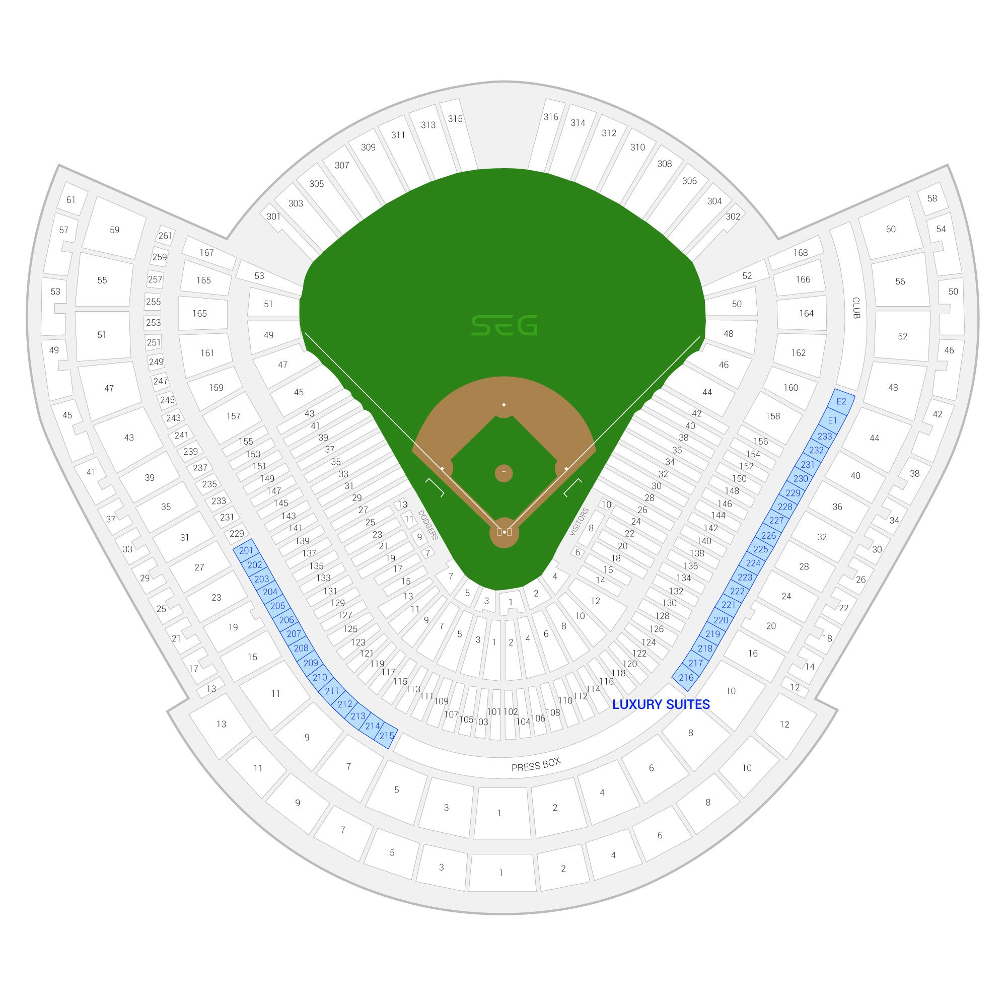 Dodger Stadium /  Suite Map and Seating Chart