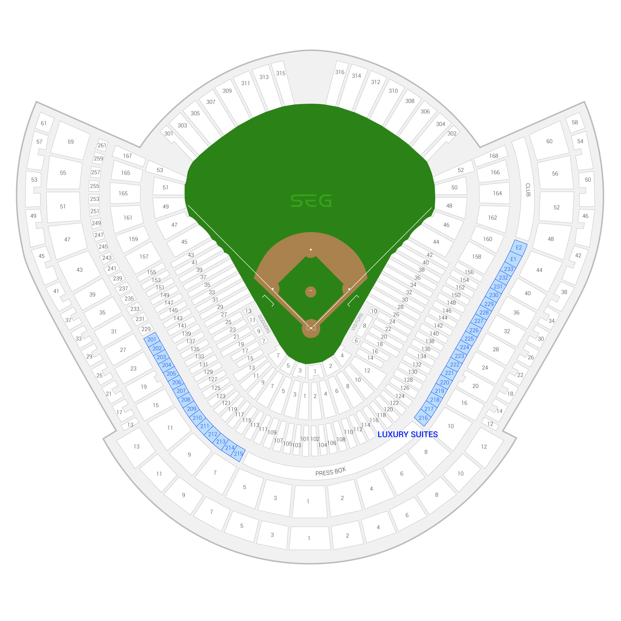 Dodger Stadium / Los Angeles Dodgers Suite Map and Seating Chart