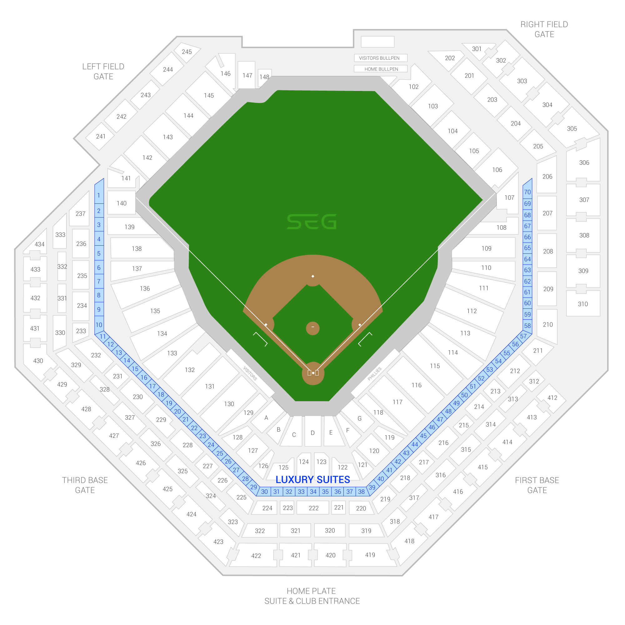 Citizens Bank Park /  Suite Map and Seating Chart