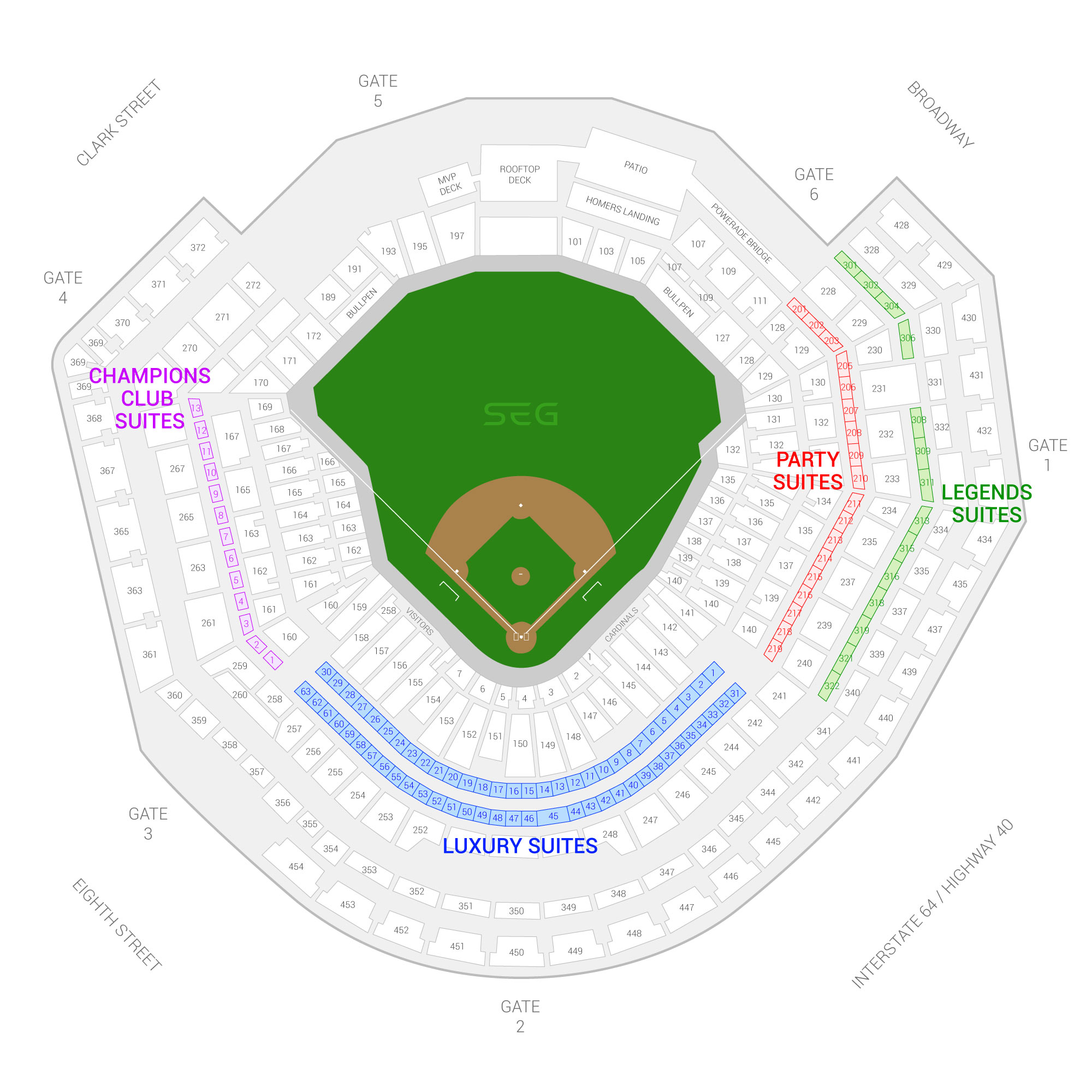 Busch Stadium / St. Louis Cardinals Suite Map and Seating Chart