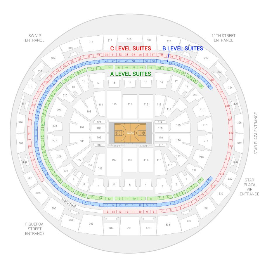 Staples Center / Los Angeles Lakers Suite Map and Seating Chart