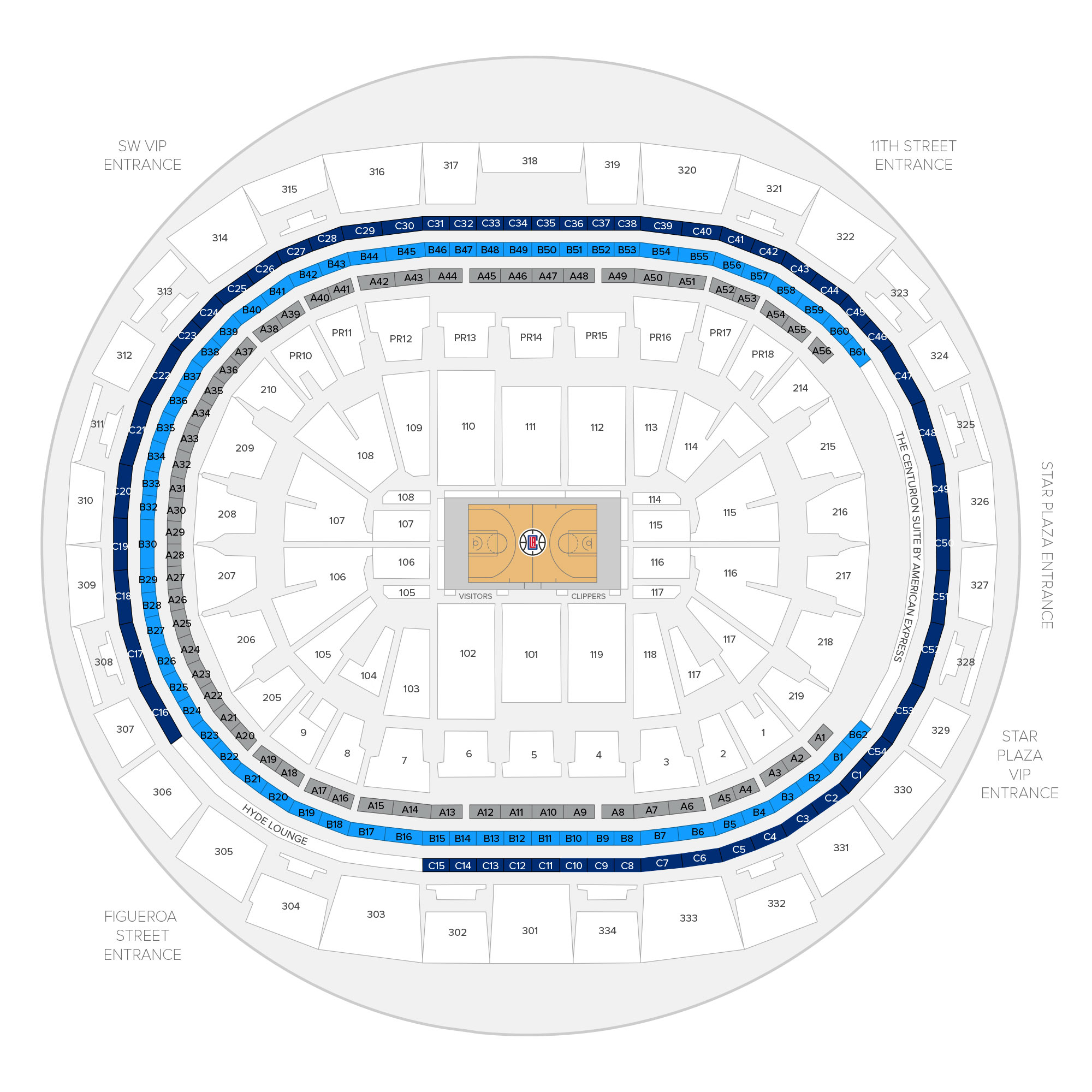 Staples Center / Los Angeles Clippers Suite Map and Seating Chart