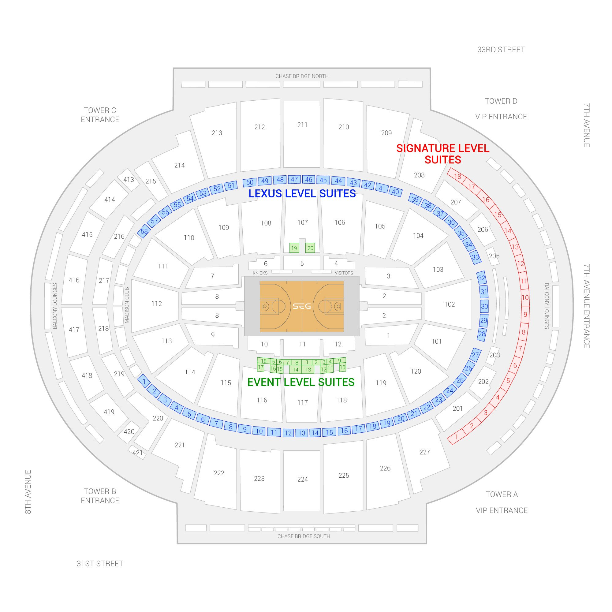Nice Madison Square Garden / New York Knicks Suite Map And Seating Chart