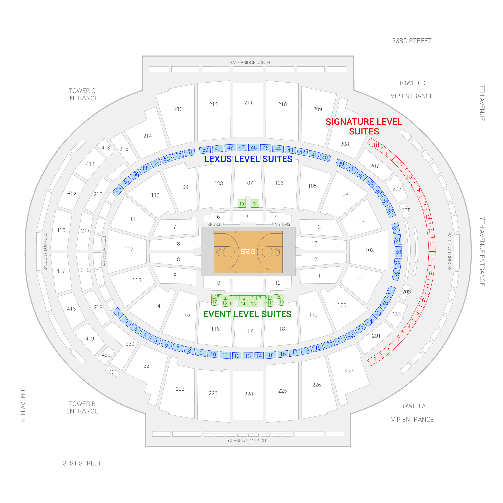 Madison Square Garden / New York Knicks Suite Map and Seating Chart