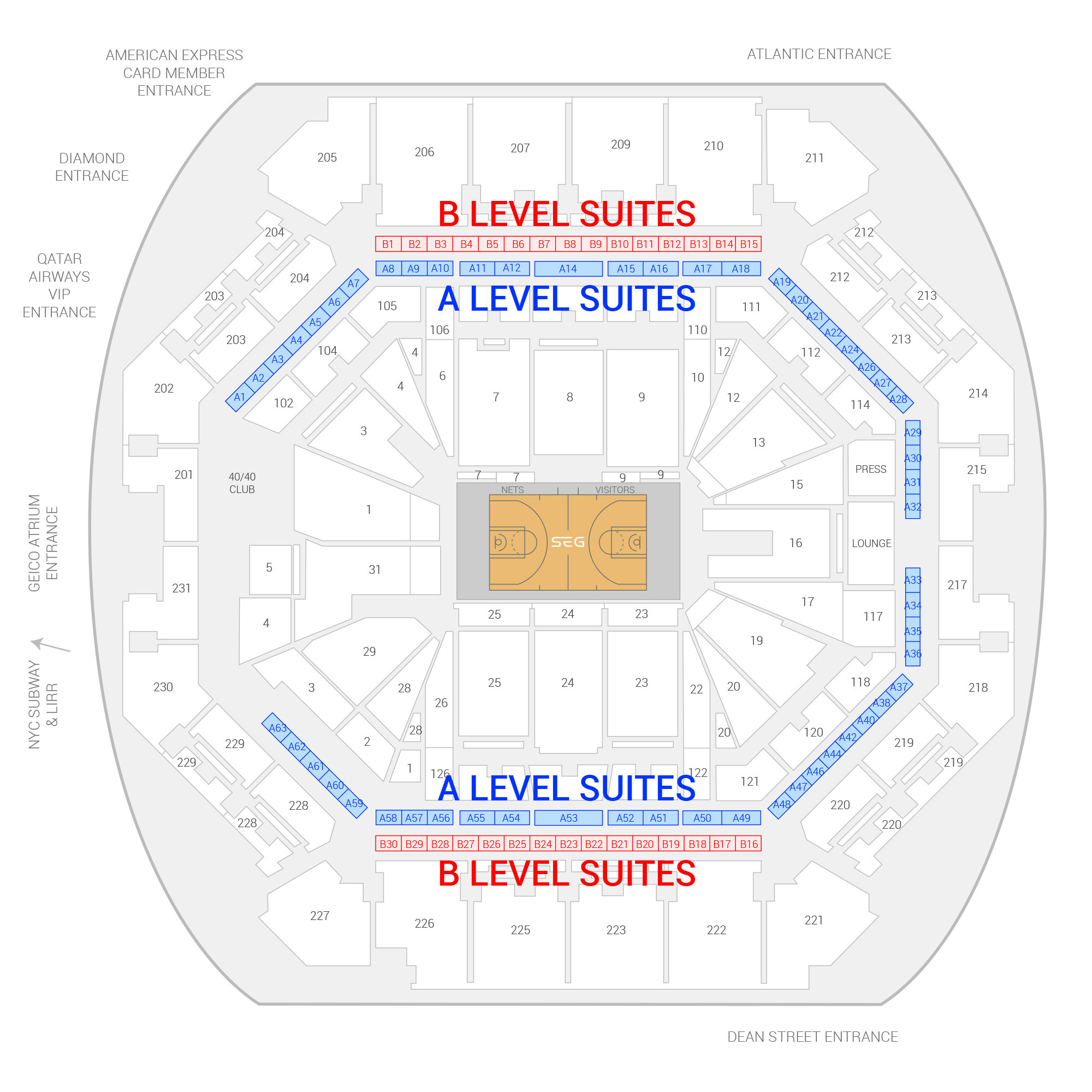 Barclays Center Brooklyn Nets Suite Map and Seating Chart