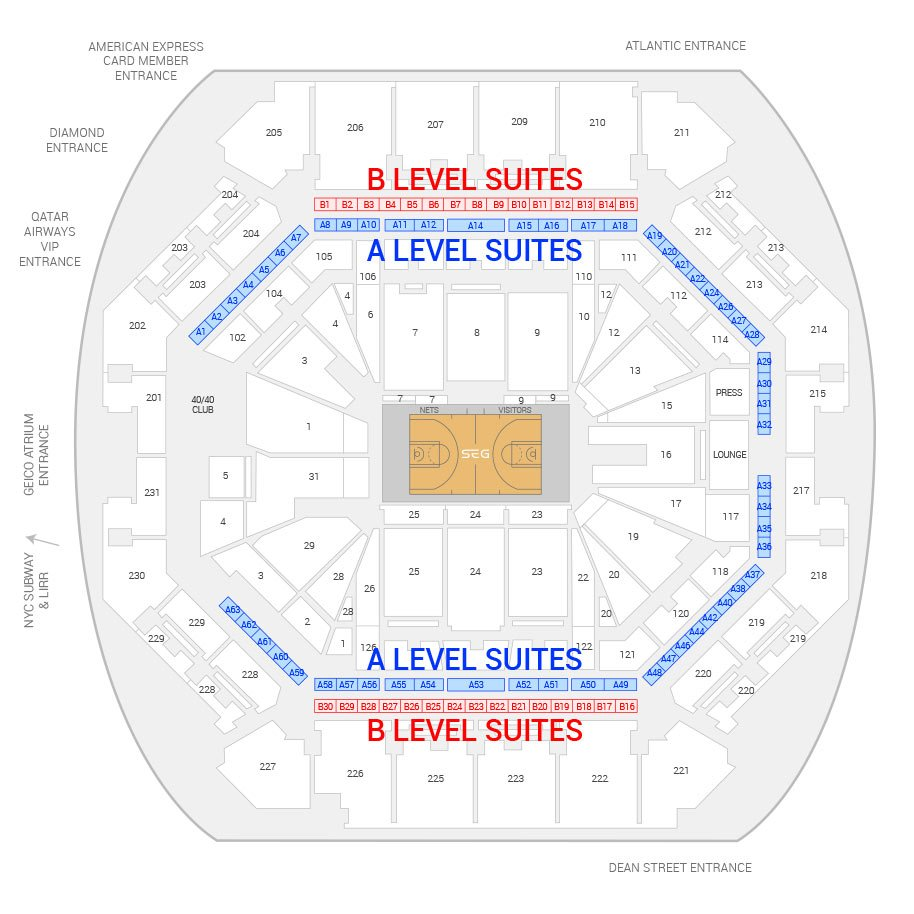 Barclays Center / Brooklyn Nets Suite Map and Seating Chart