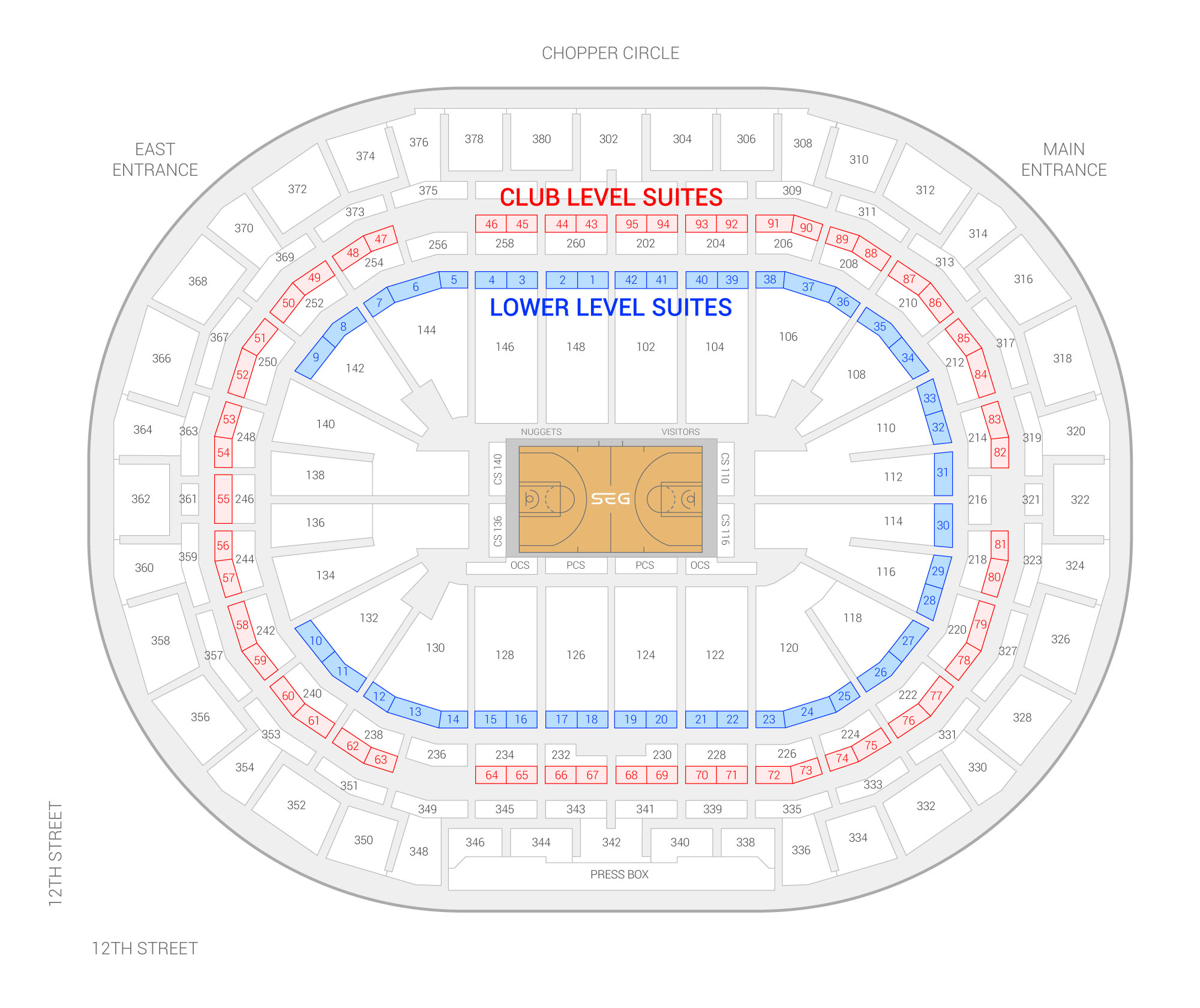 Ball Arena / Denver Nuggets Suite Map and Seating Chart