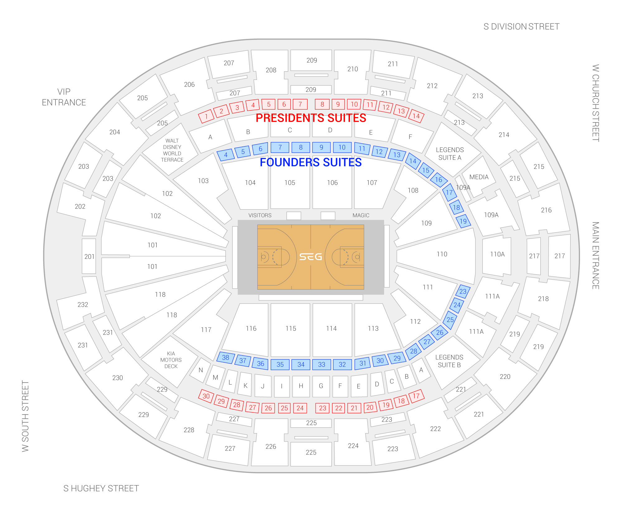 Amway Center /  Suite Map and Seating Chart