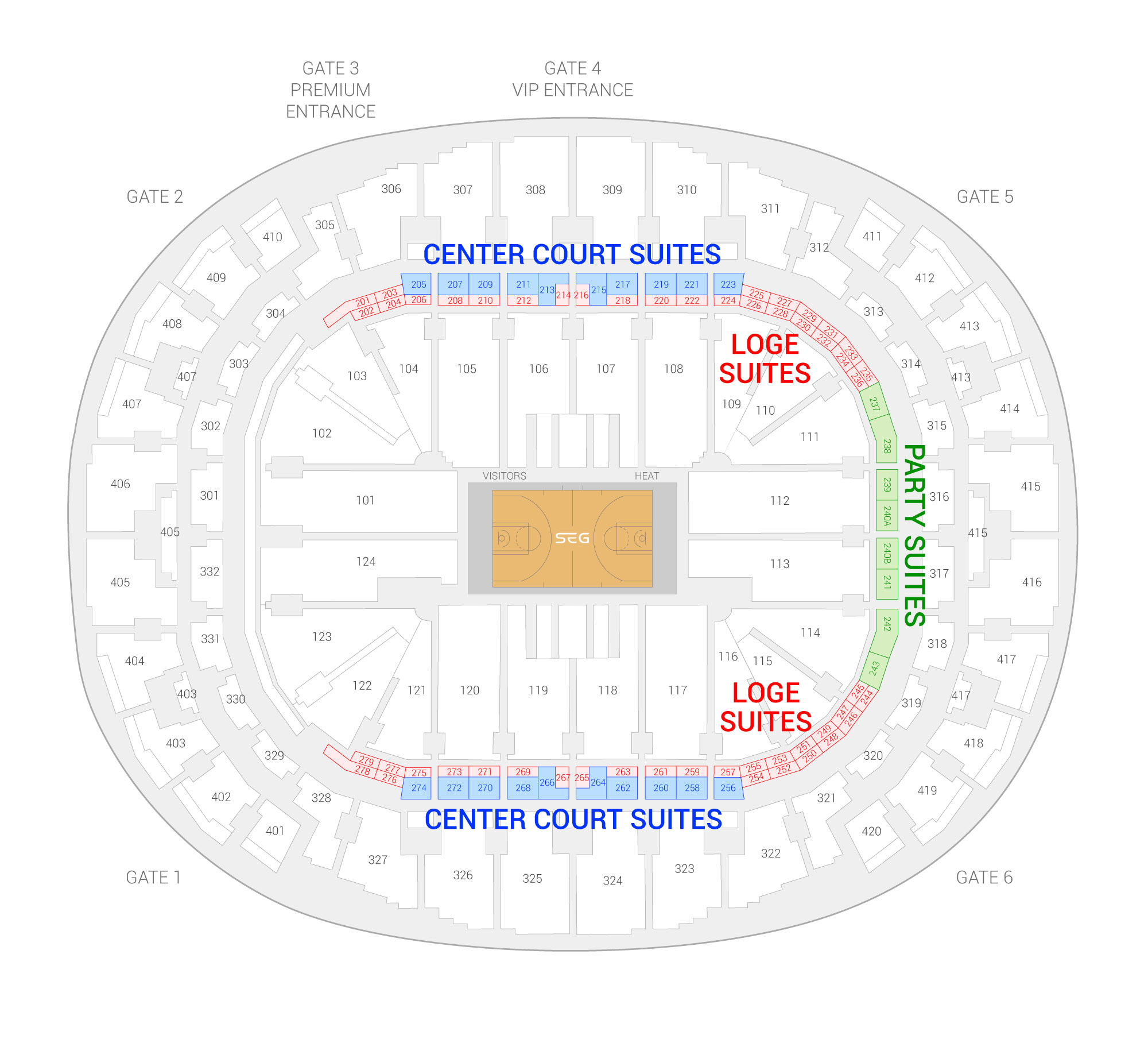 American Airlines Arena / Miami Heat Suite Map and Seating Chart