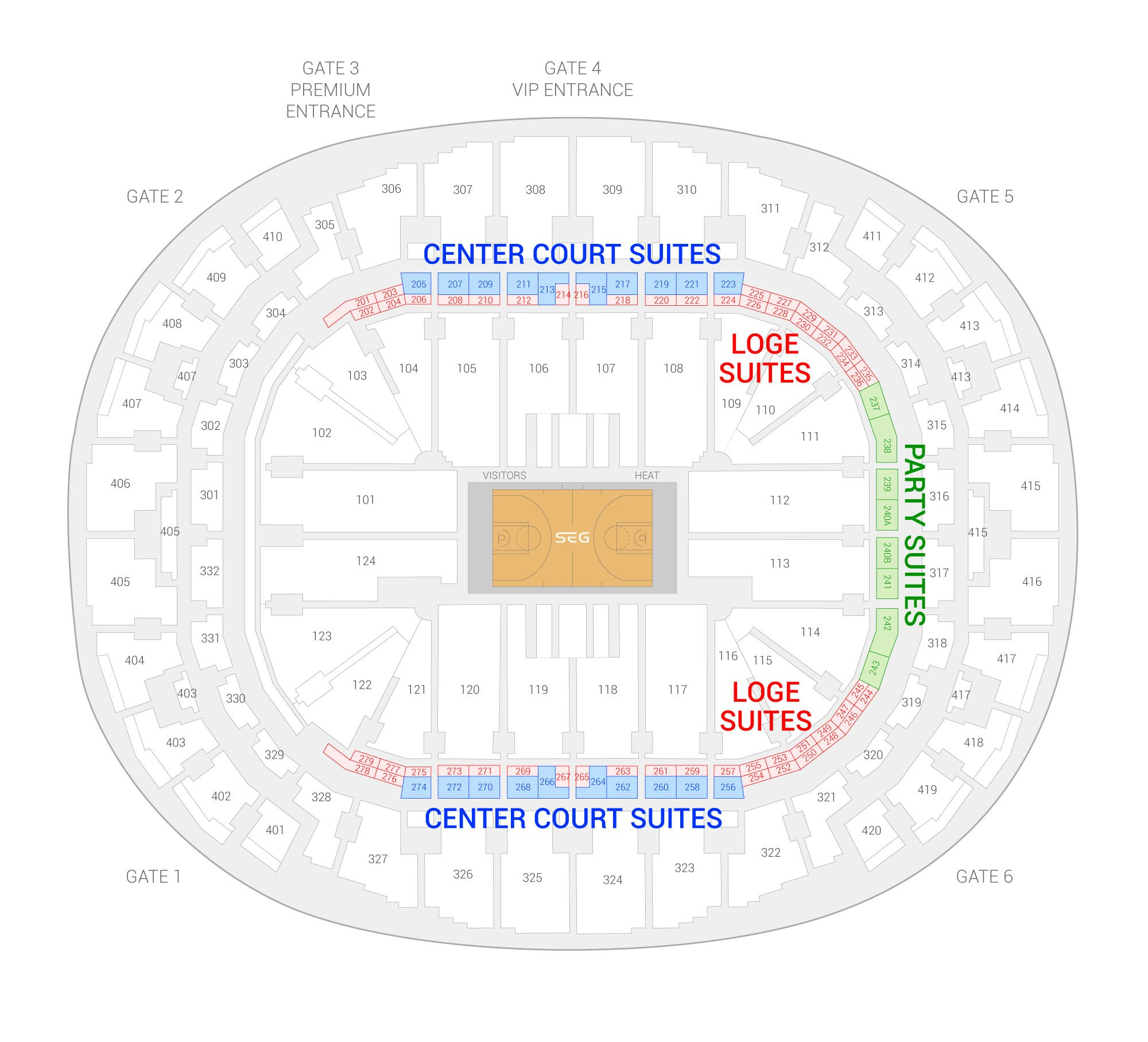 FTX Arena (Formerly American Airlines Arena) /  Suite Map and Seating Chart