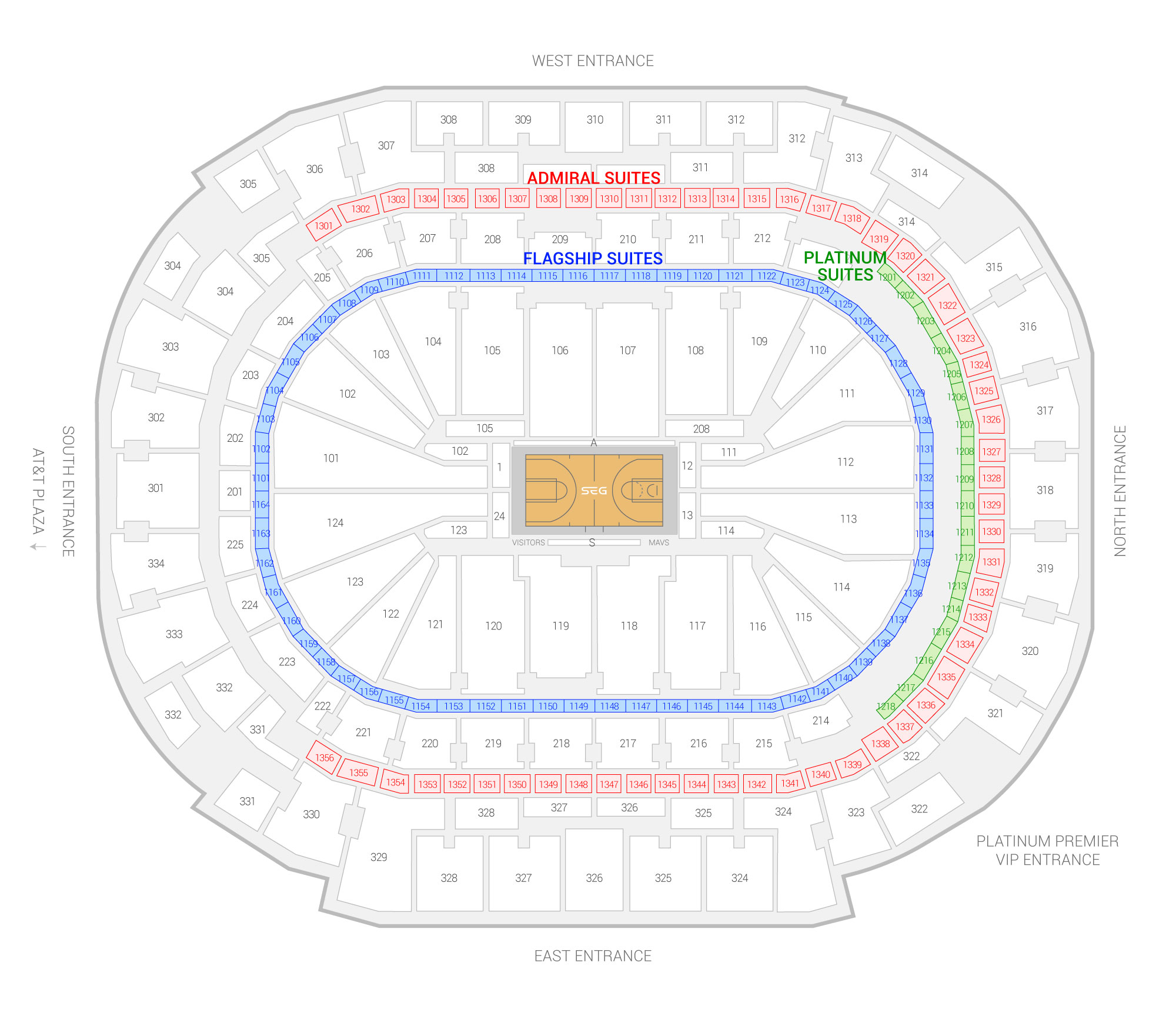 American Airlines Center / Dallas Mavericks Suite Map and Seating Chart