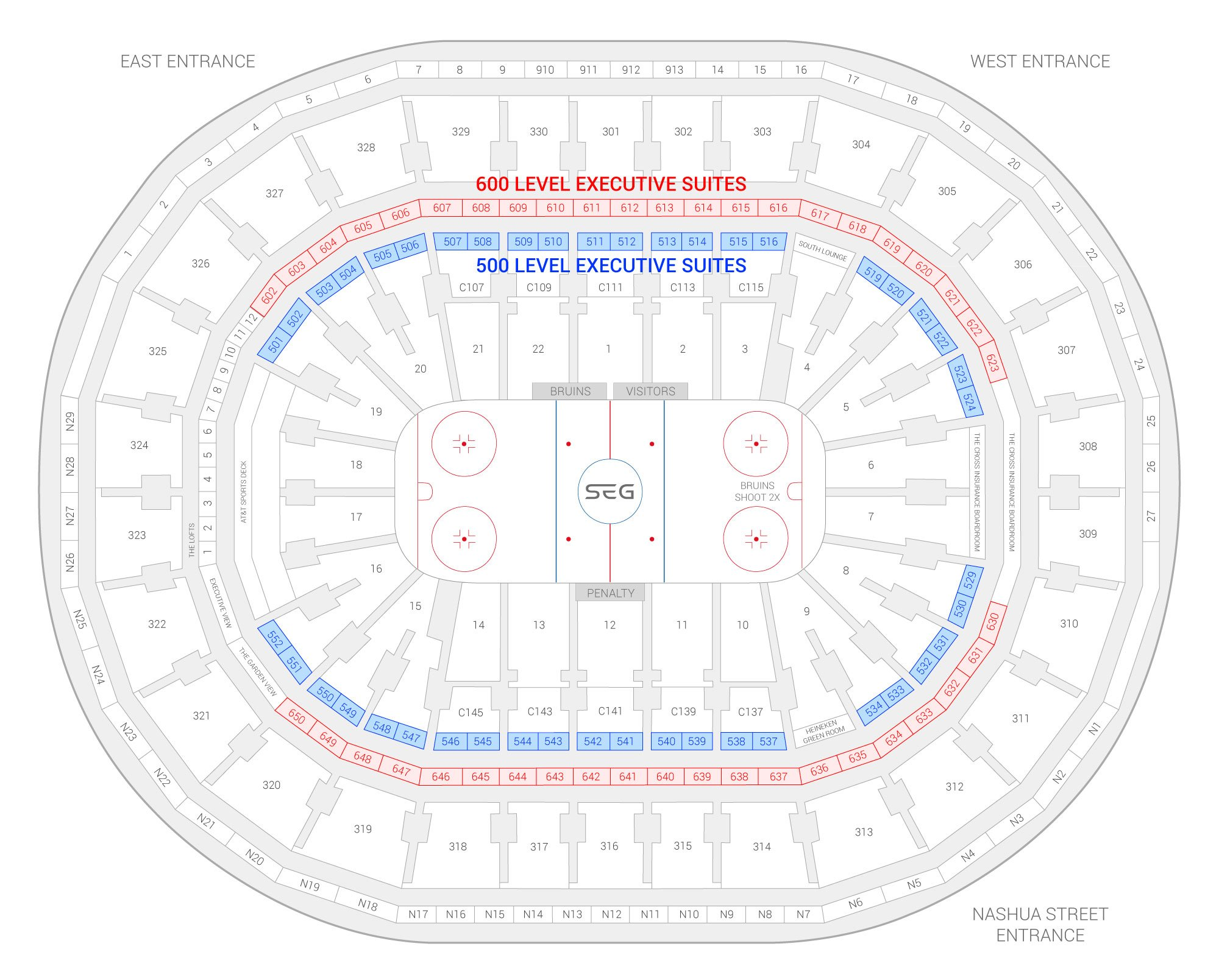 TD Garden / Boston Bruins Suite Map and Seating Chart