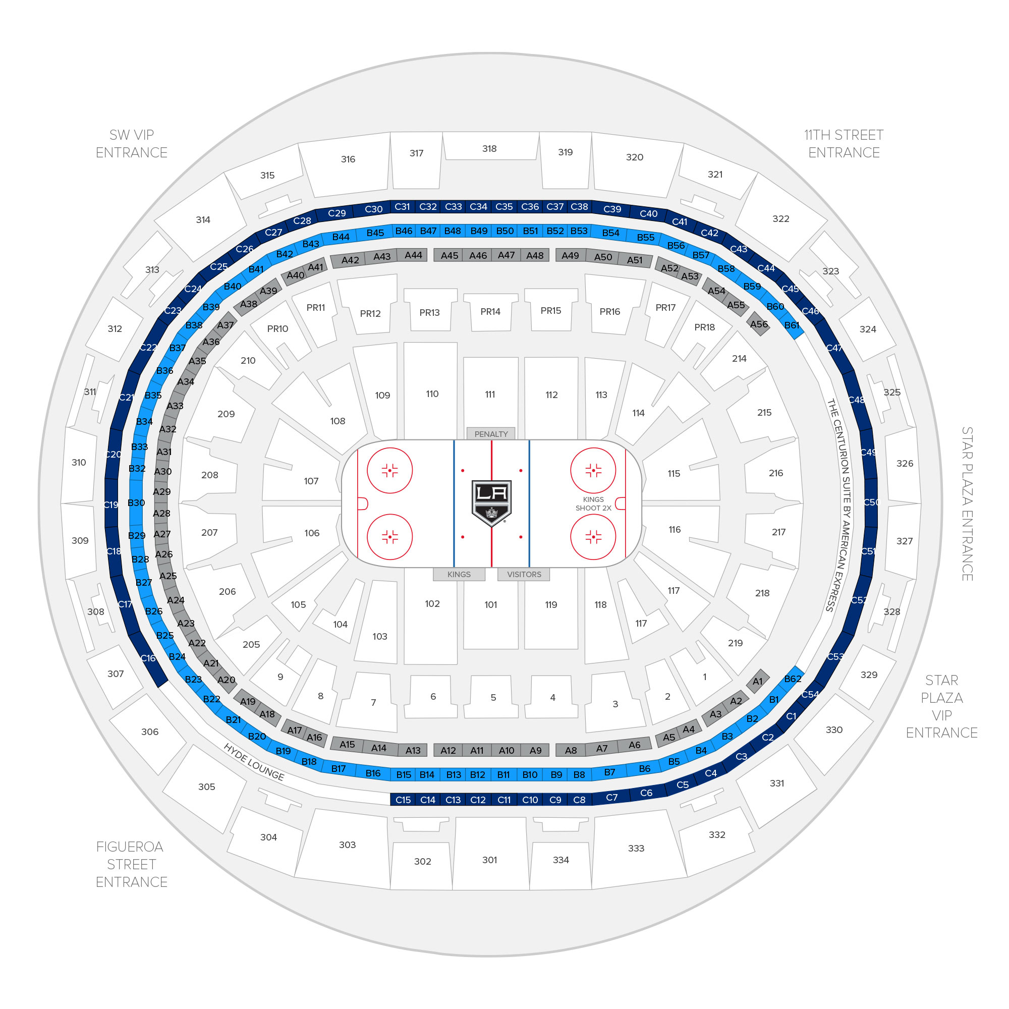 Staples Center / Los Angeles Kings Suite Map and Seating Chart