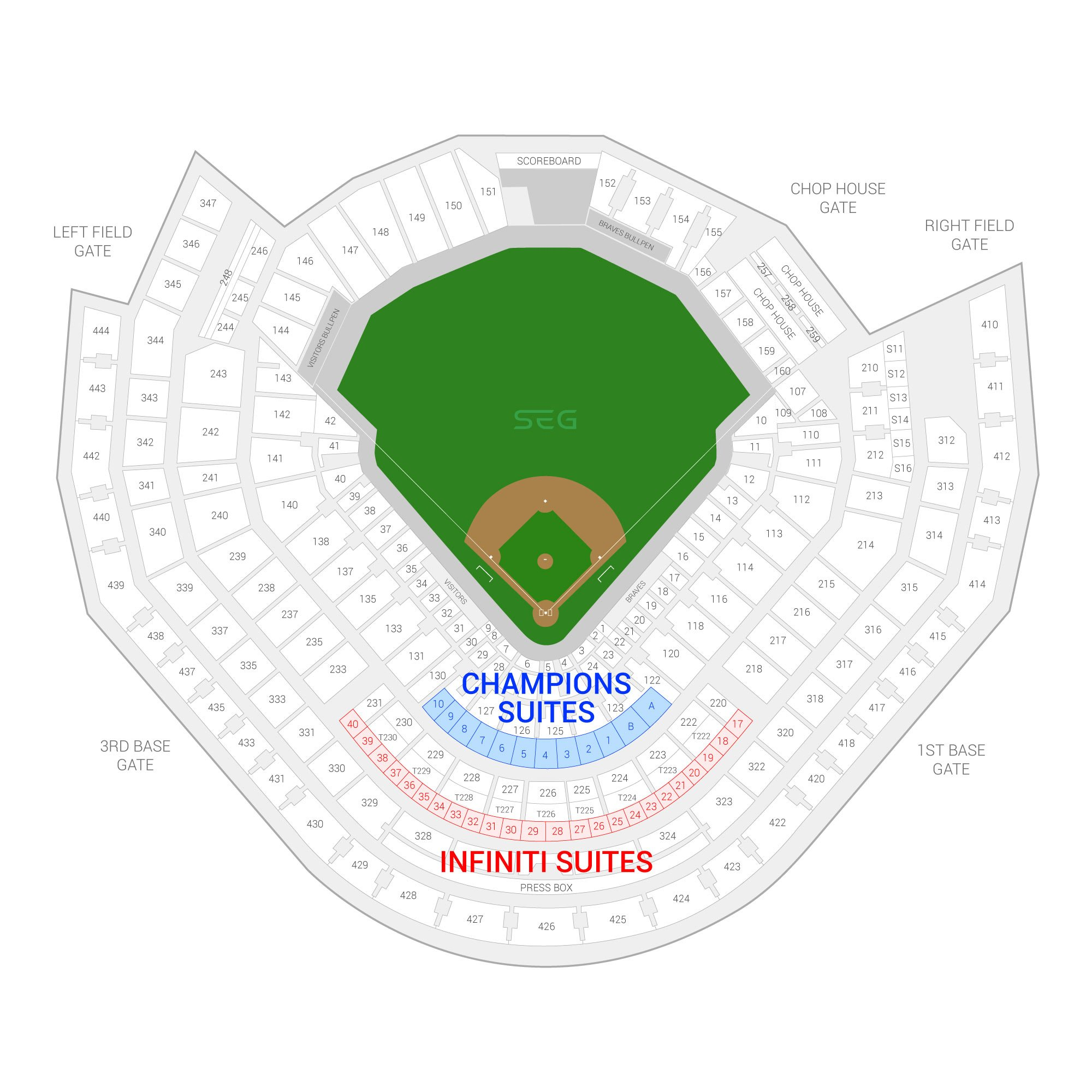 Truist Park (Formerly SunTrust Park) / Atlanta Braves Suite Map and Seating Chart