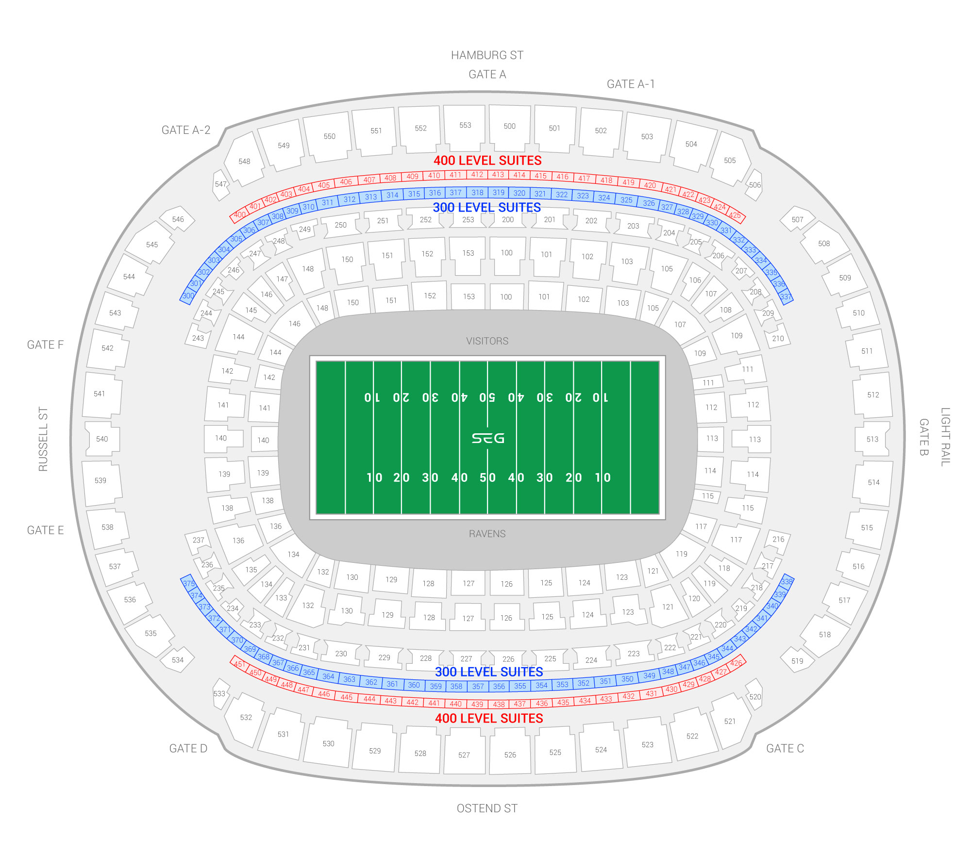 M&T Bank Stadium / Baltimore Ravens Suite Map and Seating Chart