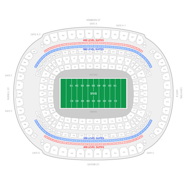 M T Bank Stadium Baltimore Ravens Suite Map And Seating Chart