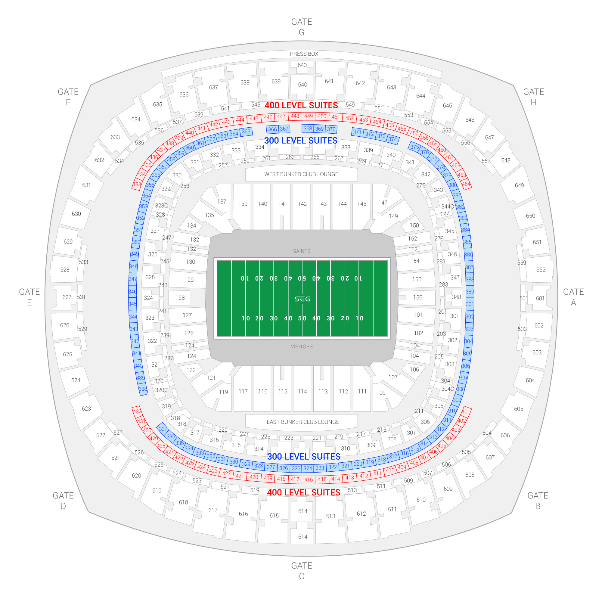 Caesars Superdome (Formerly Mercedes-Benz Superdome) / Allstate Sugar Bowl Suite Map and Seating Chart