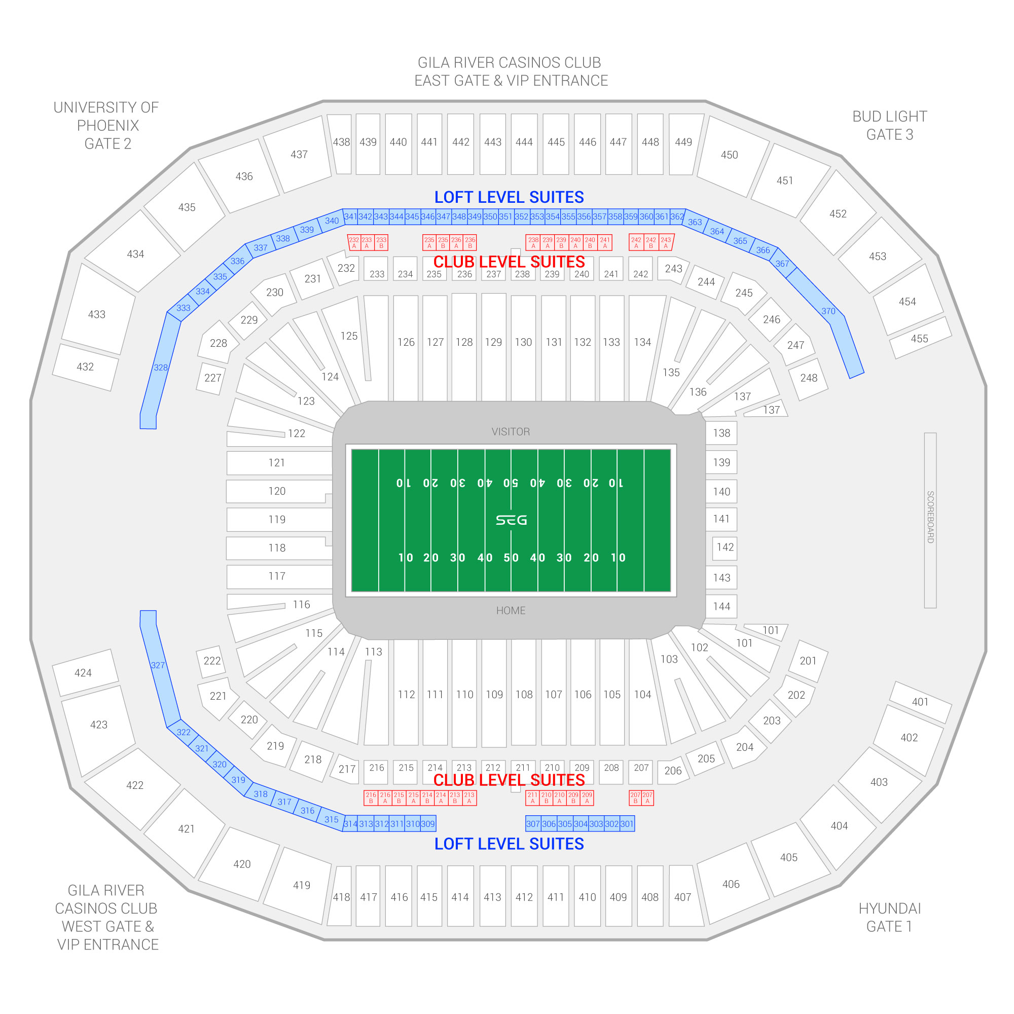 State Farm Stadium (Formerly University of Phoenix Stadium) / Fiesta Bowl Suite Map and Seating Chart