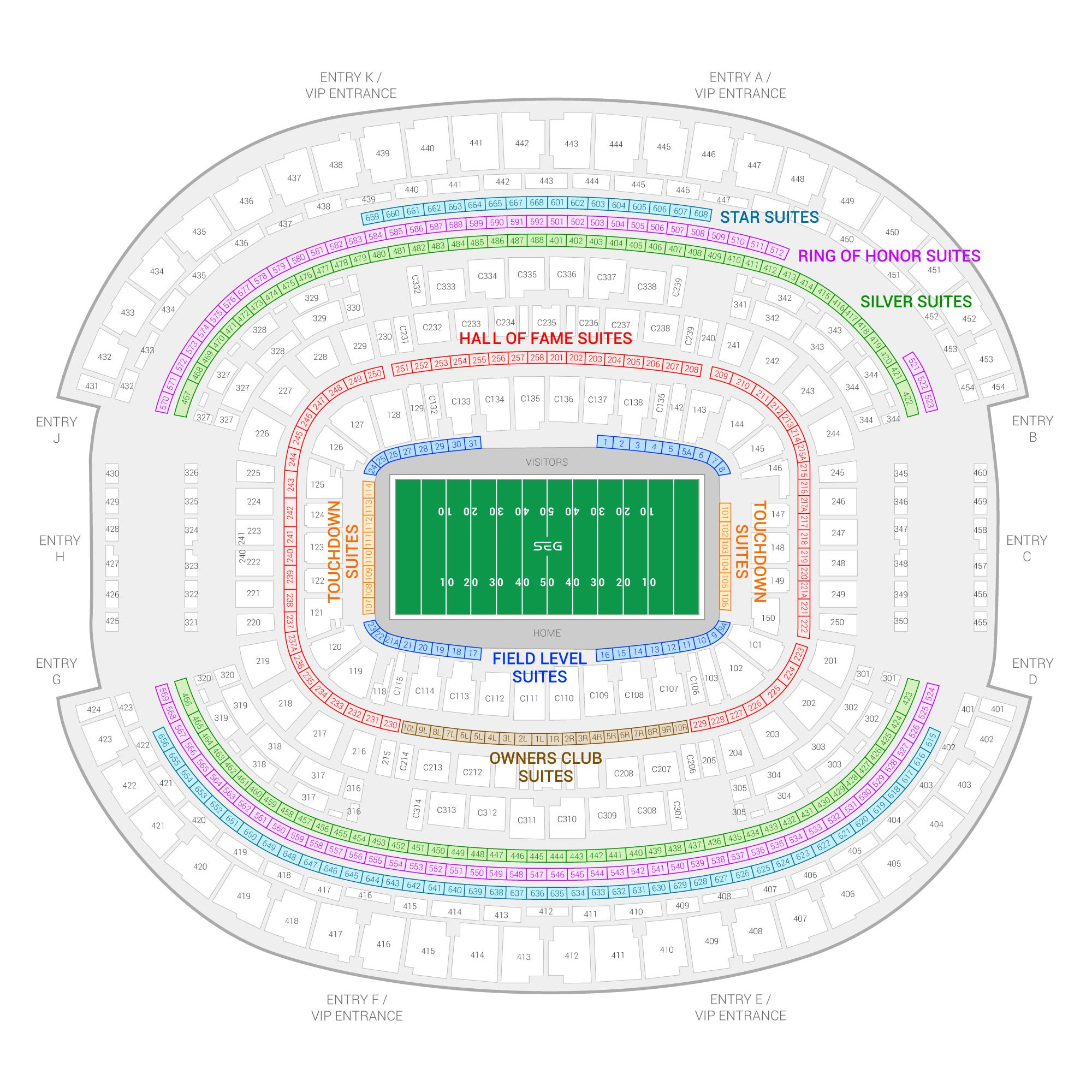 AT&T Stadium / Cotton Bowl Classic Suite Map and Seating Chart