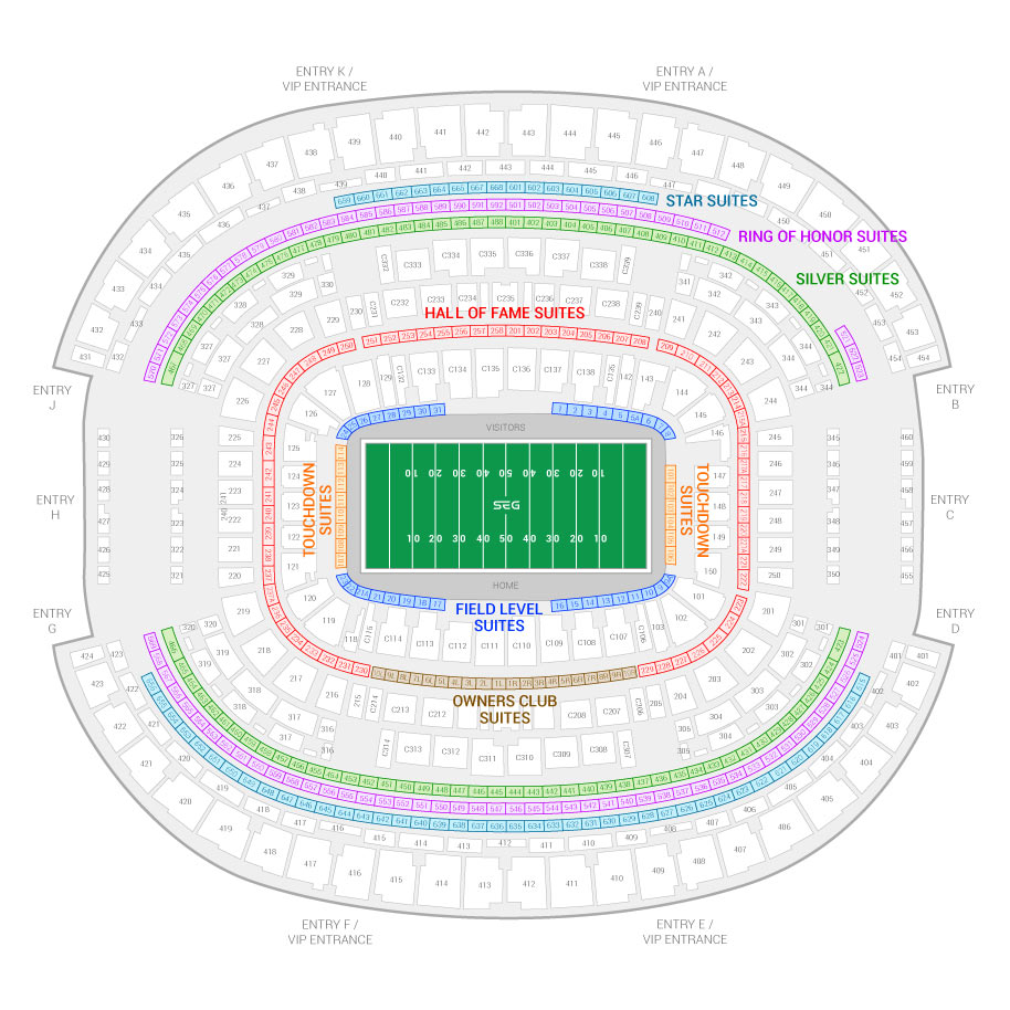 At T Stadium Cotton Bowl Clic Suite Map And Seating Chart