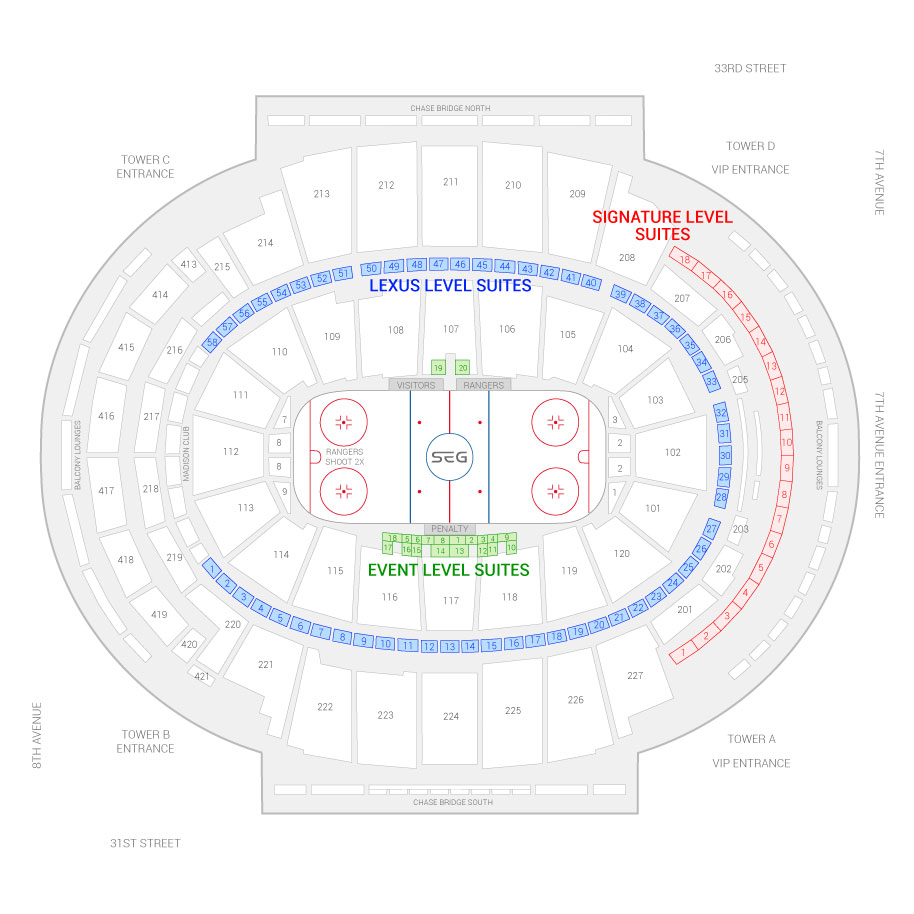 Madison Square Garden / New York Rangers Suite Map and Seating Chart