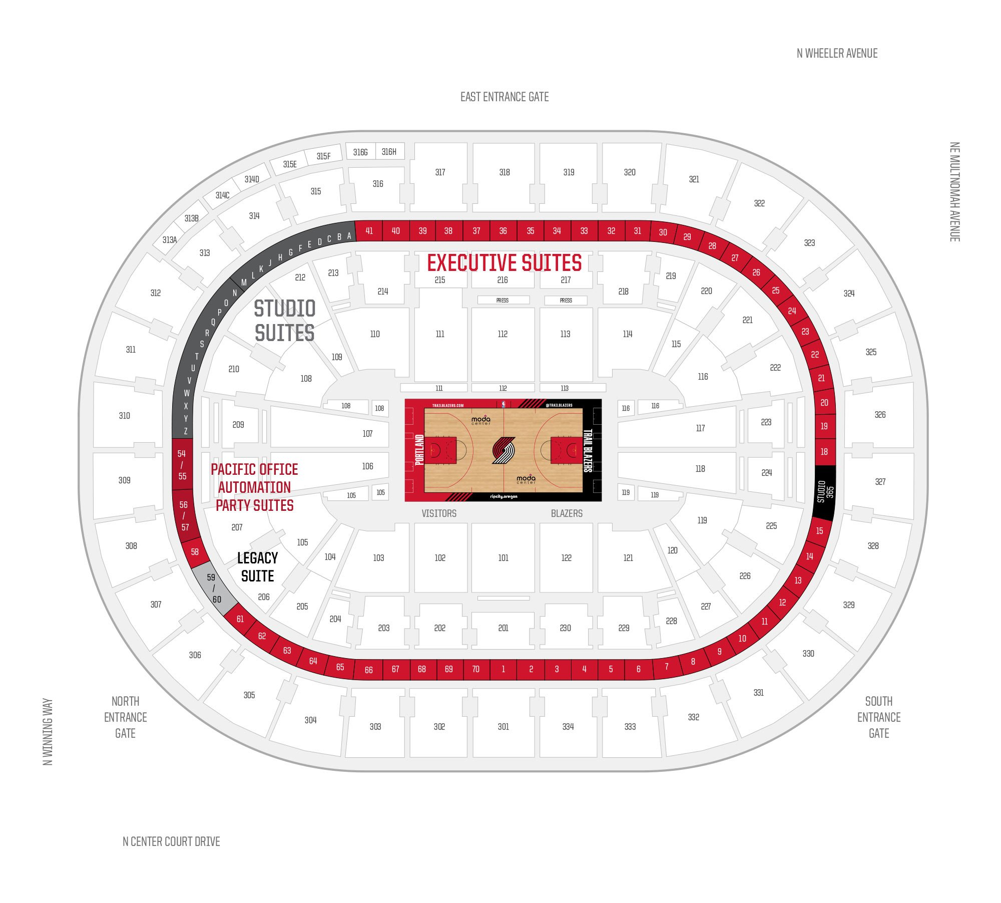 Moda Center / Portland Trail Blazers Suite Map and Seating Chart