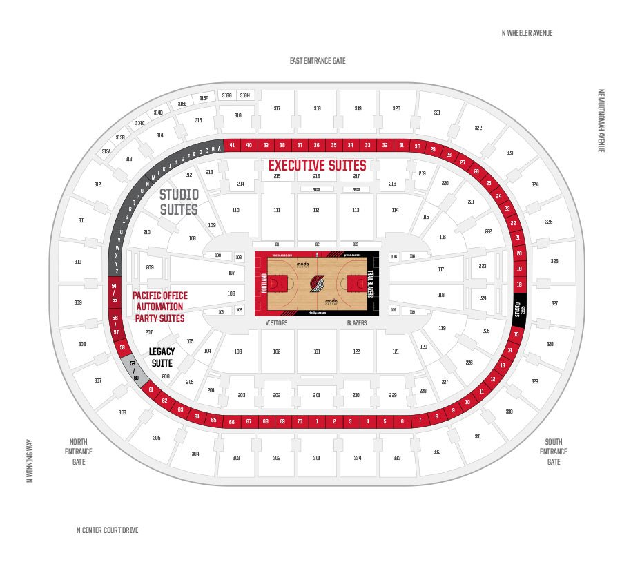 Moda Center Portland Trail Blazers Suite Map And Seating Chart
