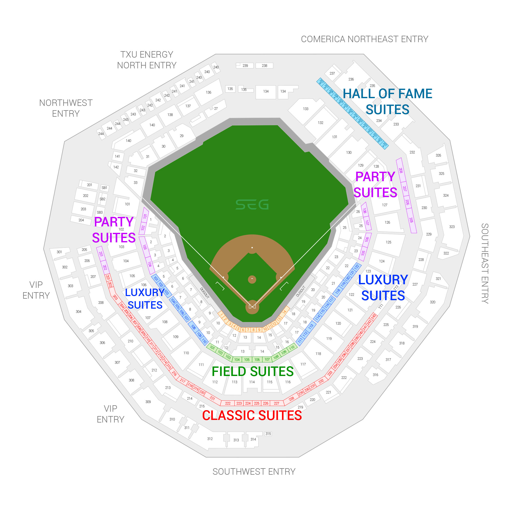 Globe Life Park / Texas Rangers Suite Map and Seating Chart