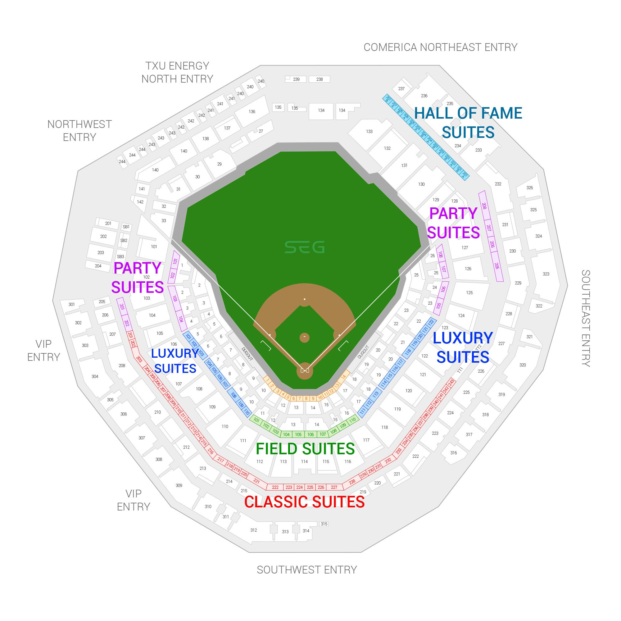Globe Life Field / Texas Rangers Suite Map and Seating Chart