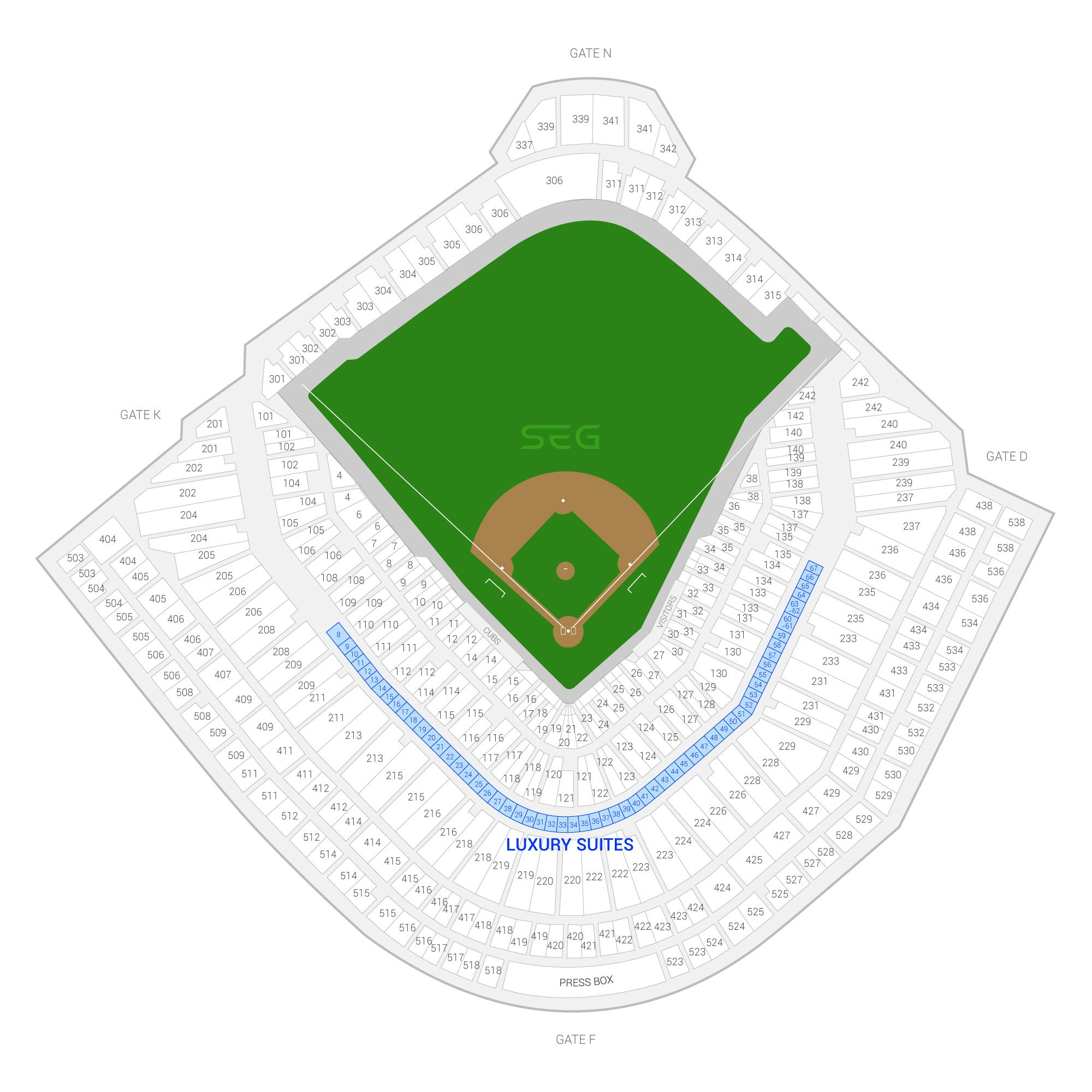 Wrigley Field / Chicago Cubs Suite Map and Seating Chart