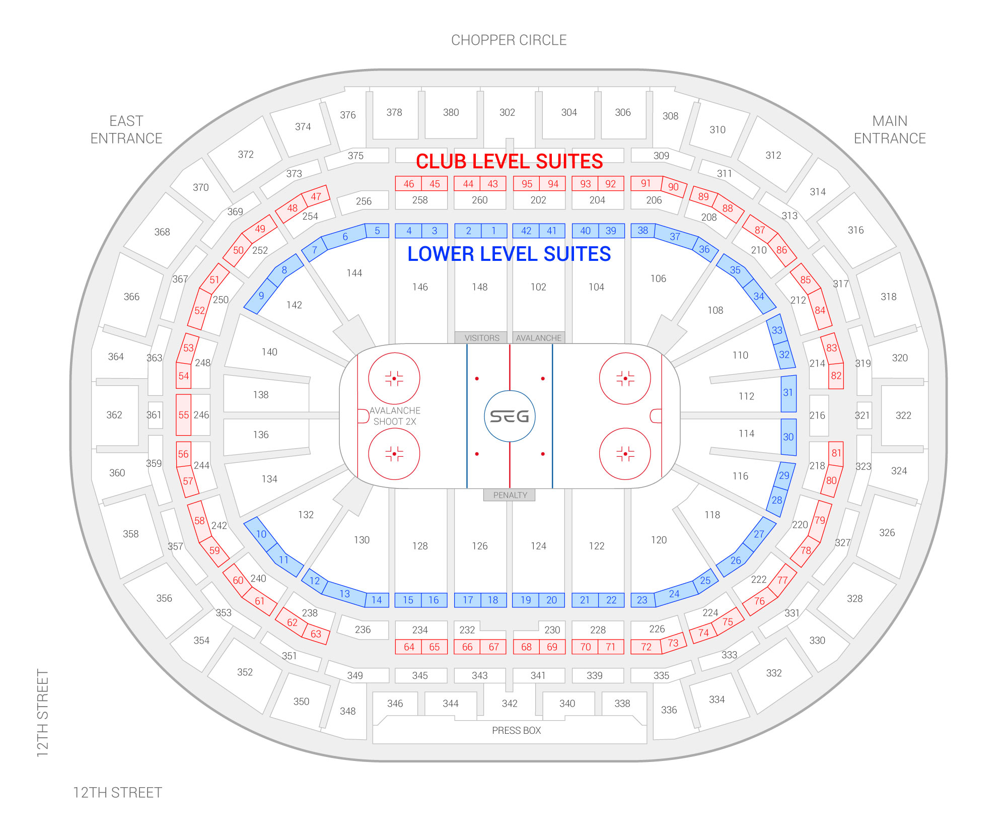 Ball Arena / Colorado Avalanche Suite Map and Seating Chart