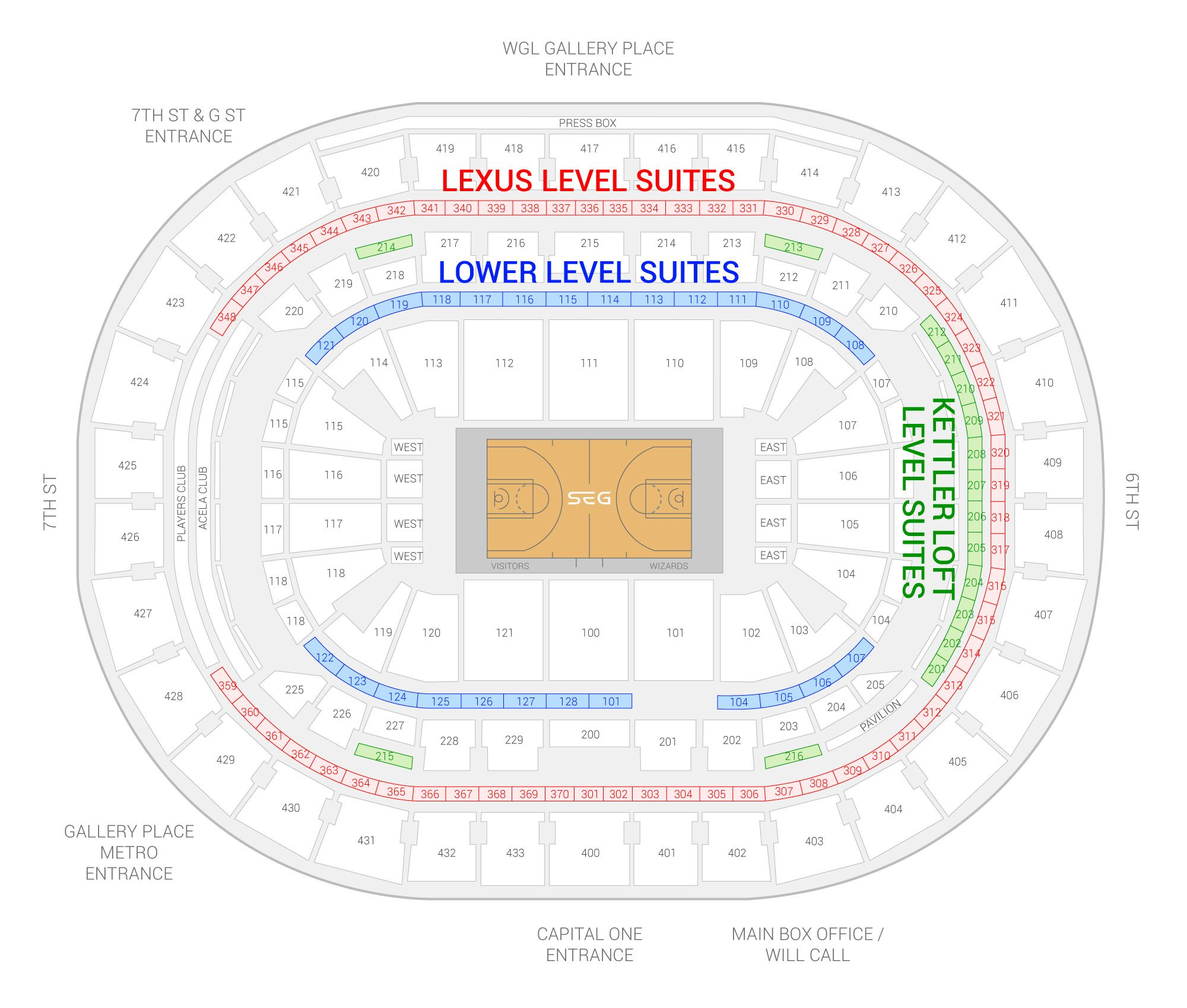 Capital One Arena / Washington Wizards Suite Map and Seating Chart