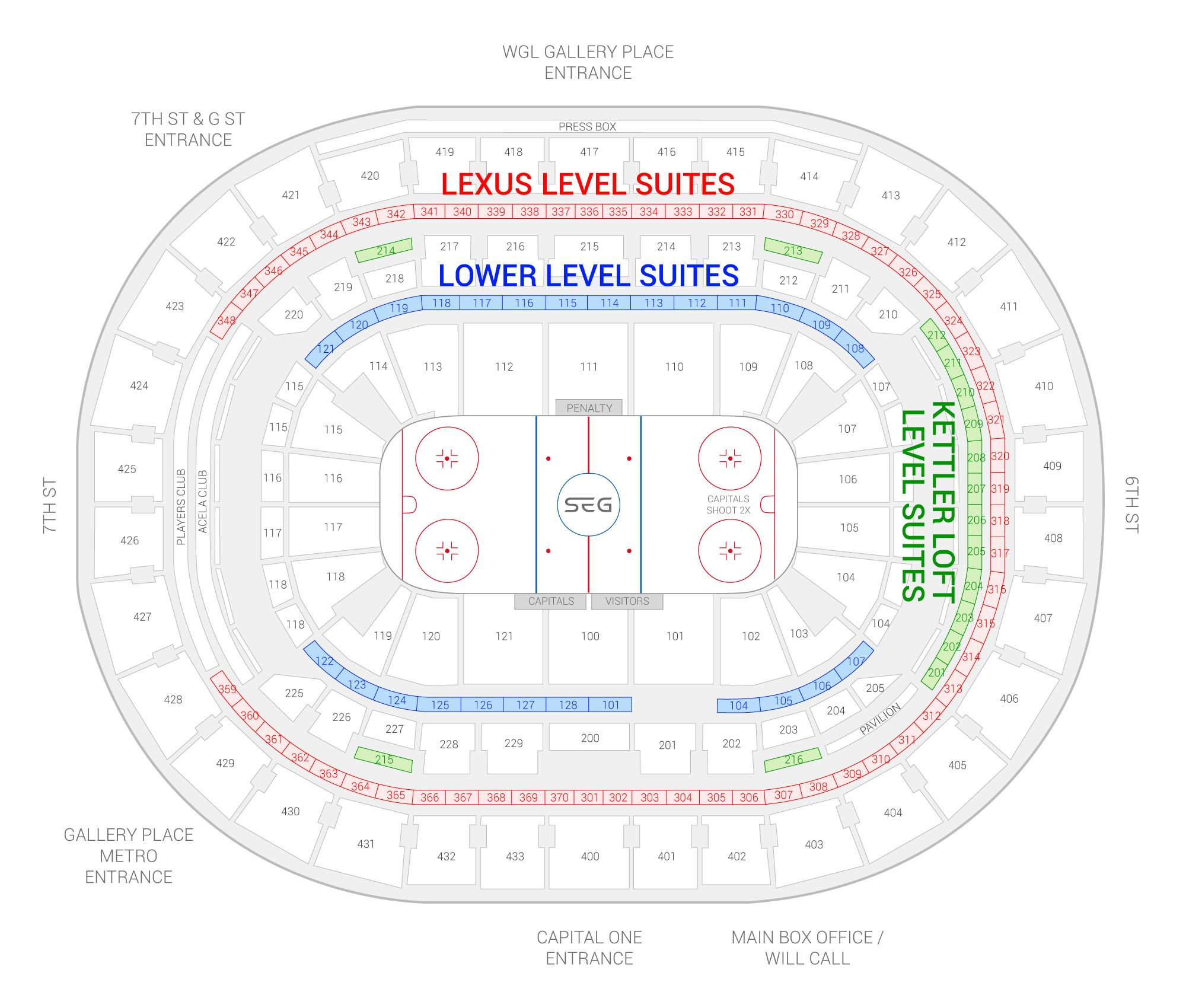 Capital One Arena / Washington Capitals Suite Map and Seating Chart