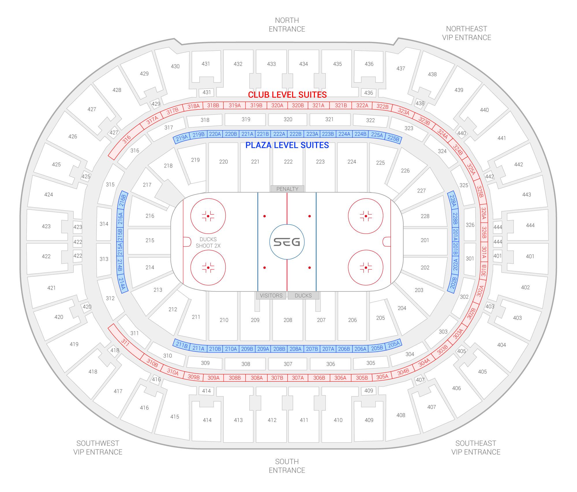 Honda Center / Anaheim Ducks Suite Map and Seating Chart