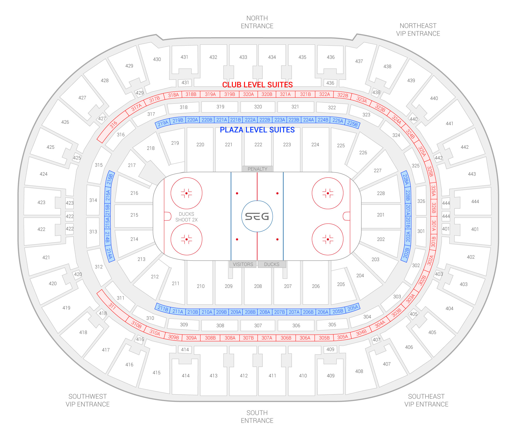 Honda Center /  Suite Map and Seating Chart