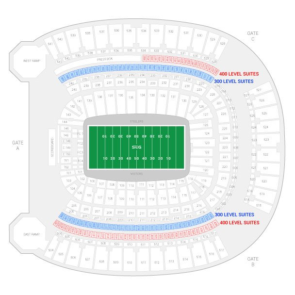 Heinz Field / Pittsburgh Steelers Suite Map and Seating Chart
