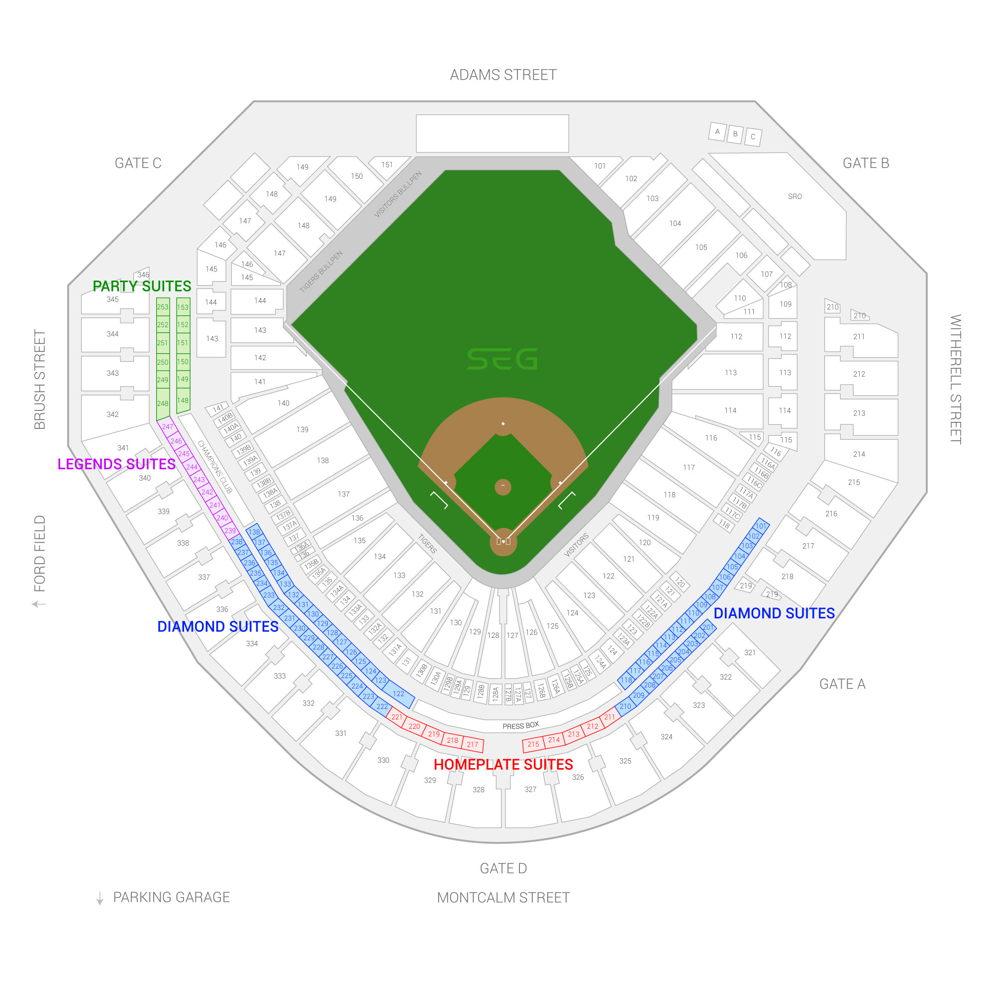 Comerica Park / Detroit Tigers Suite Map and Seating Chart