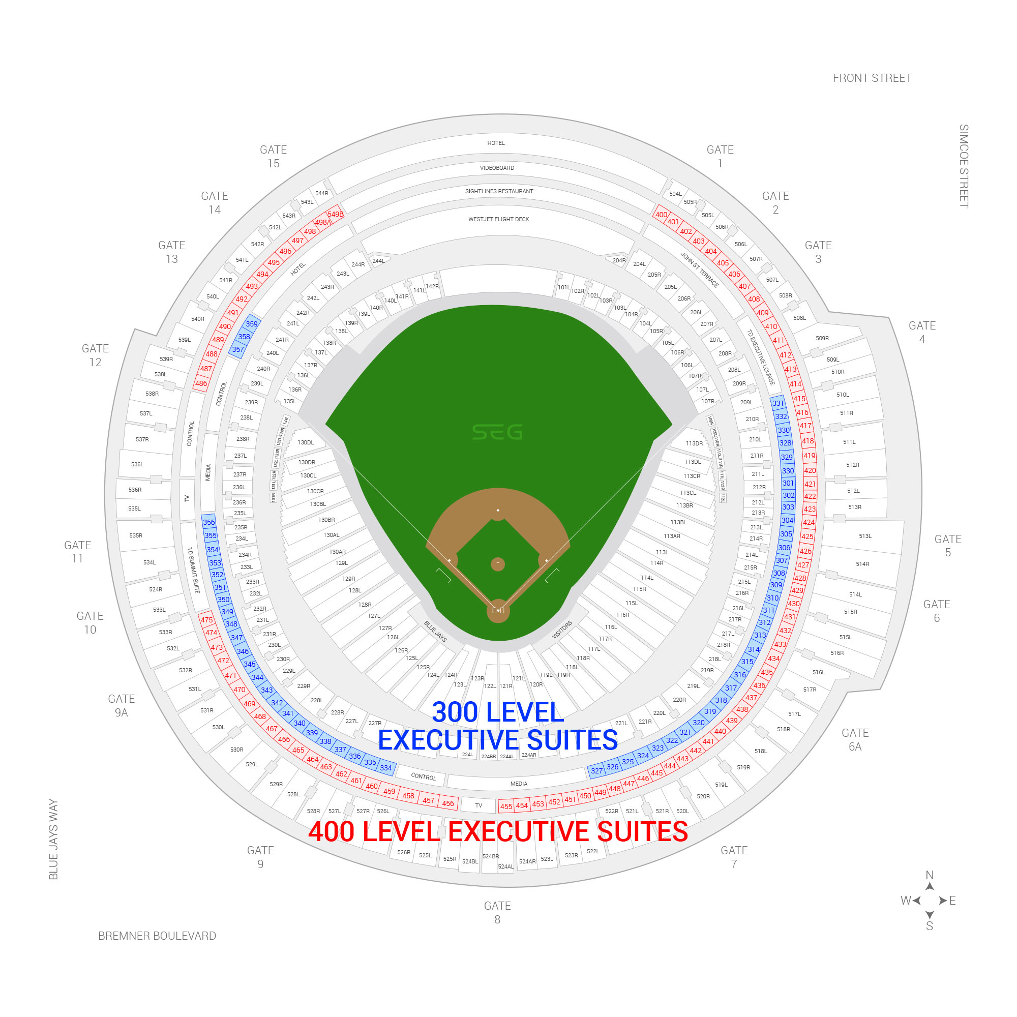 Rogers Centre / Toronto Blue Jays Suite Map and Seating Chart